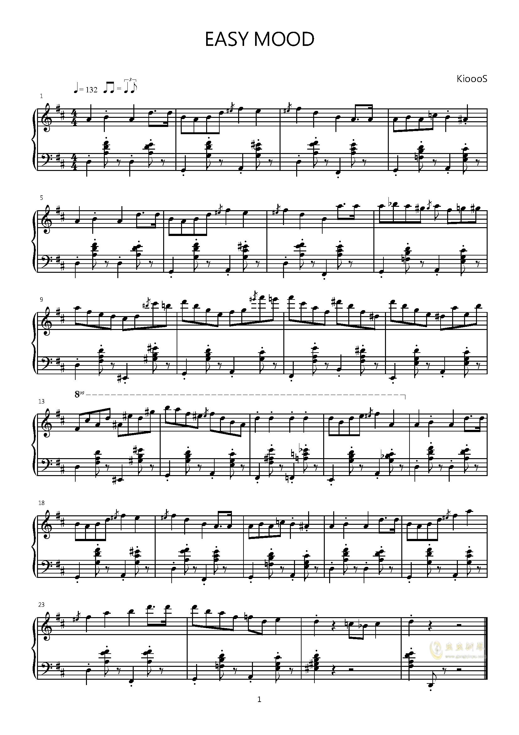 心情简单钢琴谱 第1页