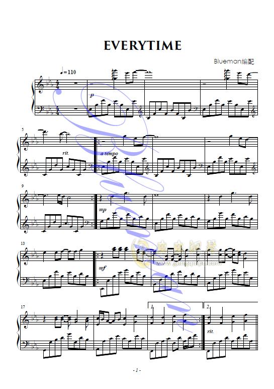 everytime,everytime钢琴谱,everytime钢琴谱网,钢琴