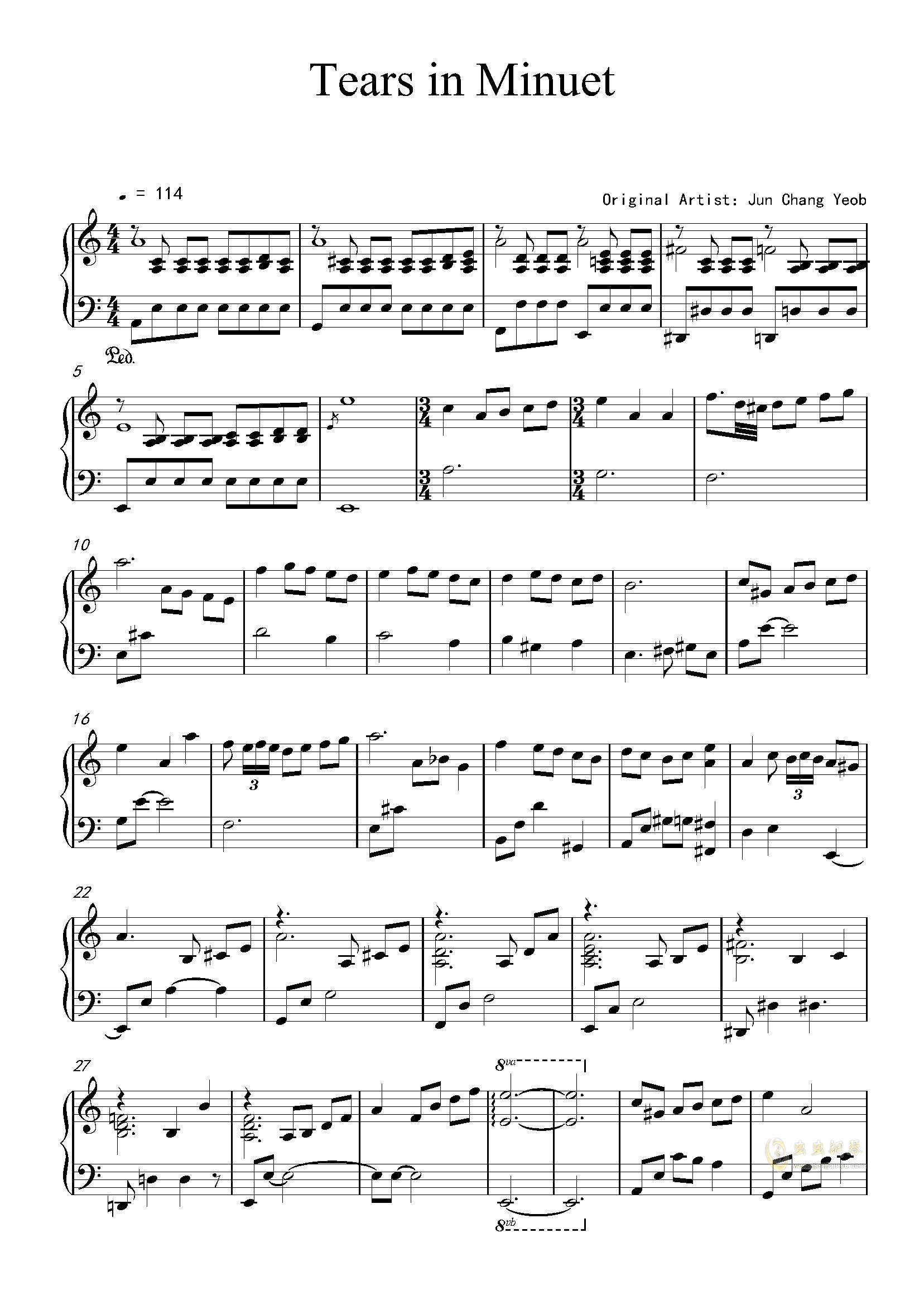m3还原度较高钢琴谱,Tears in Minuet来自星星的你bgm3还原度较