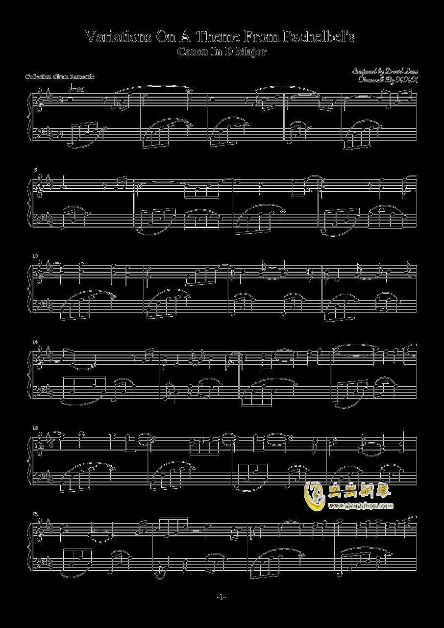 阳光路上d调五线谱-卡农钢琴谱 d大调 钢琴谱