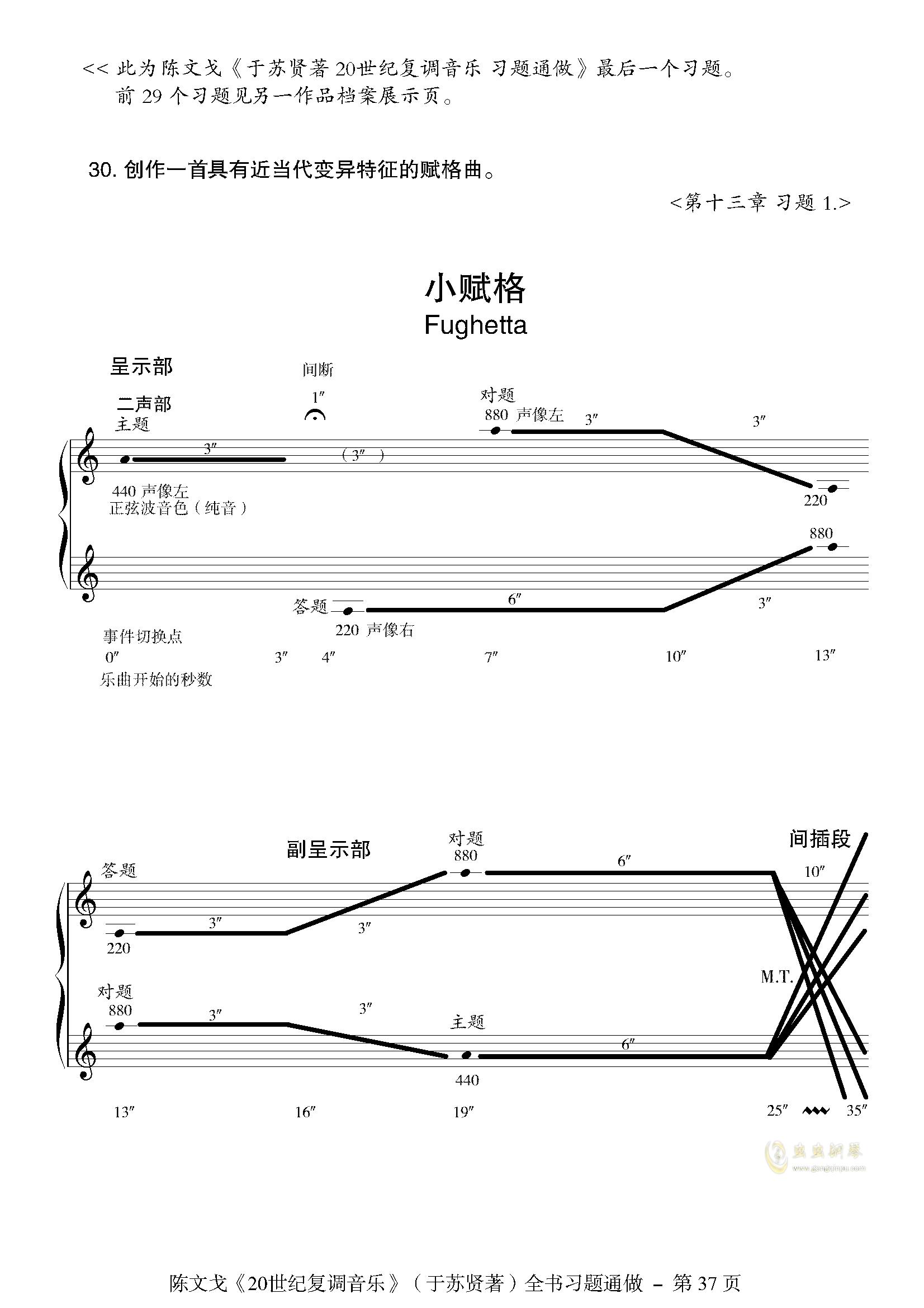小赋格-陈文戈钢琴谱 第1页