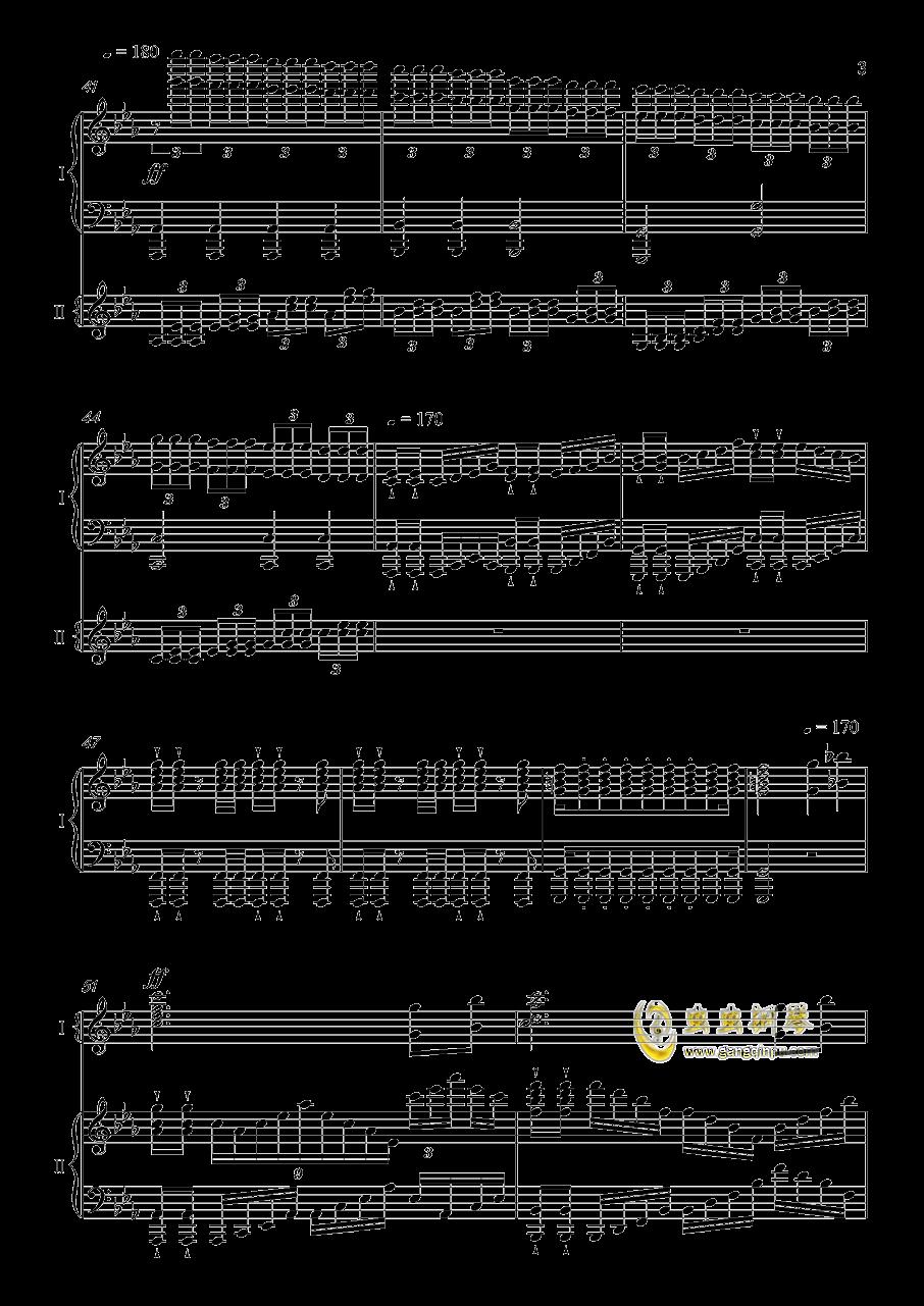 夜�@と幽世の蝶钢琴谱 第3页