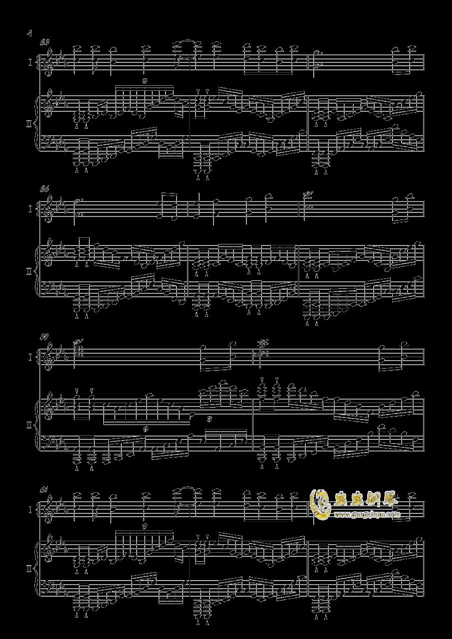 夜�@と幽世の蝶钢琴谱 第4页