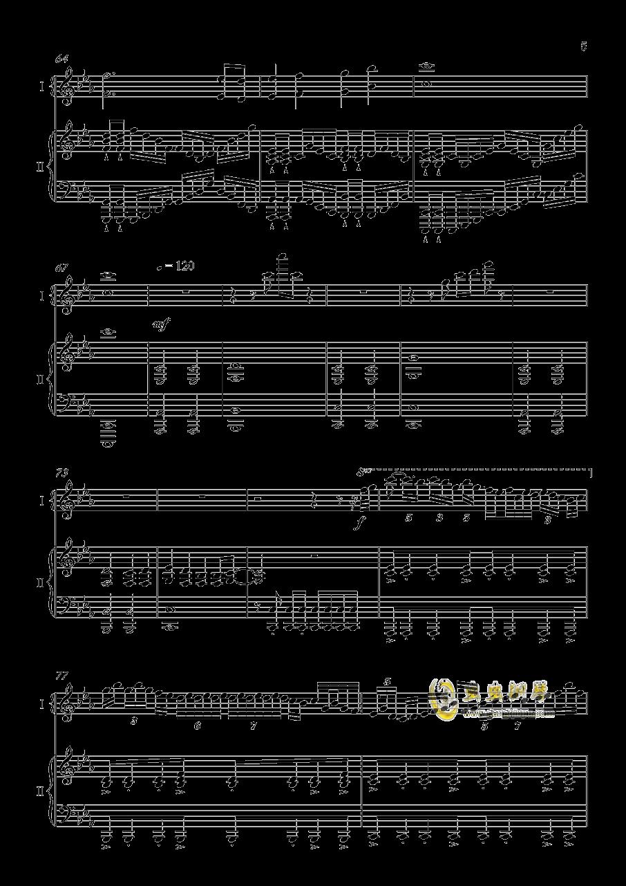 夜�@と幽世の蝶钢琴谱 第5页