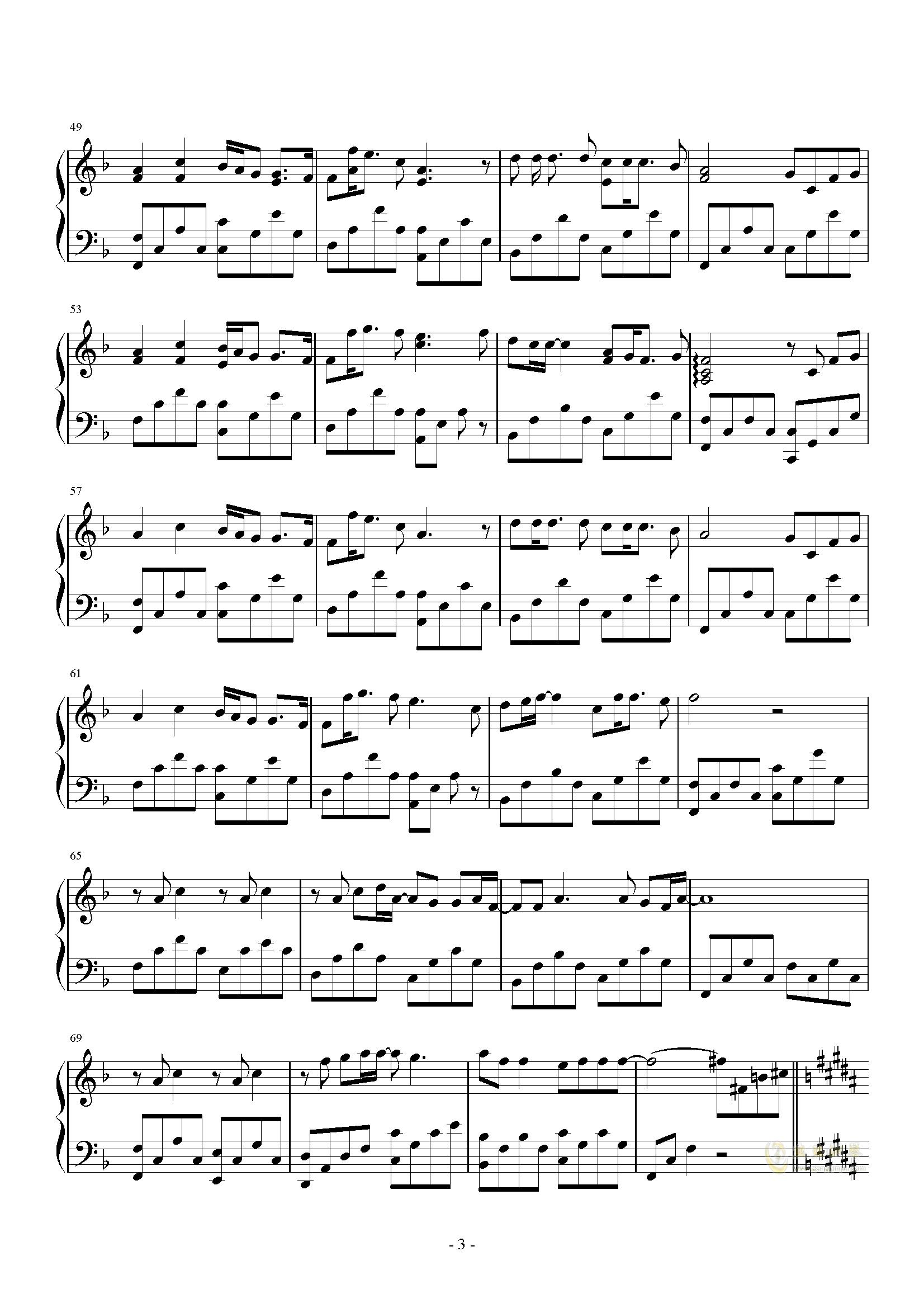 黑板情书钢琴谱 第3页