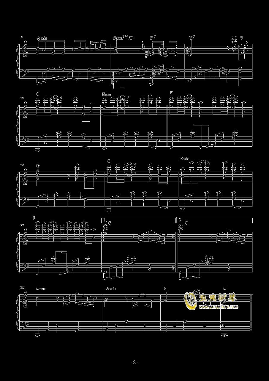 无条件钢琴谱 第2页