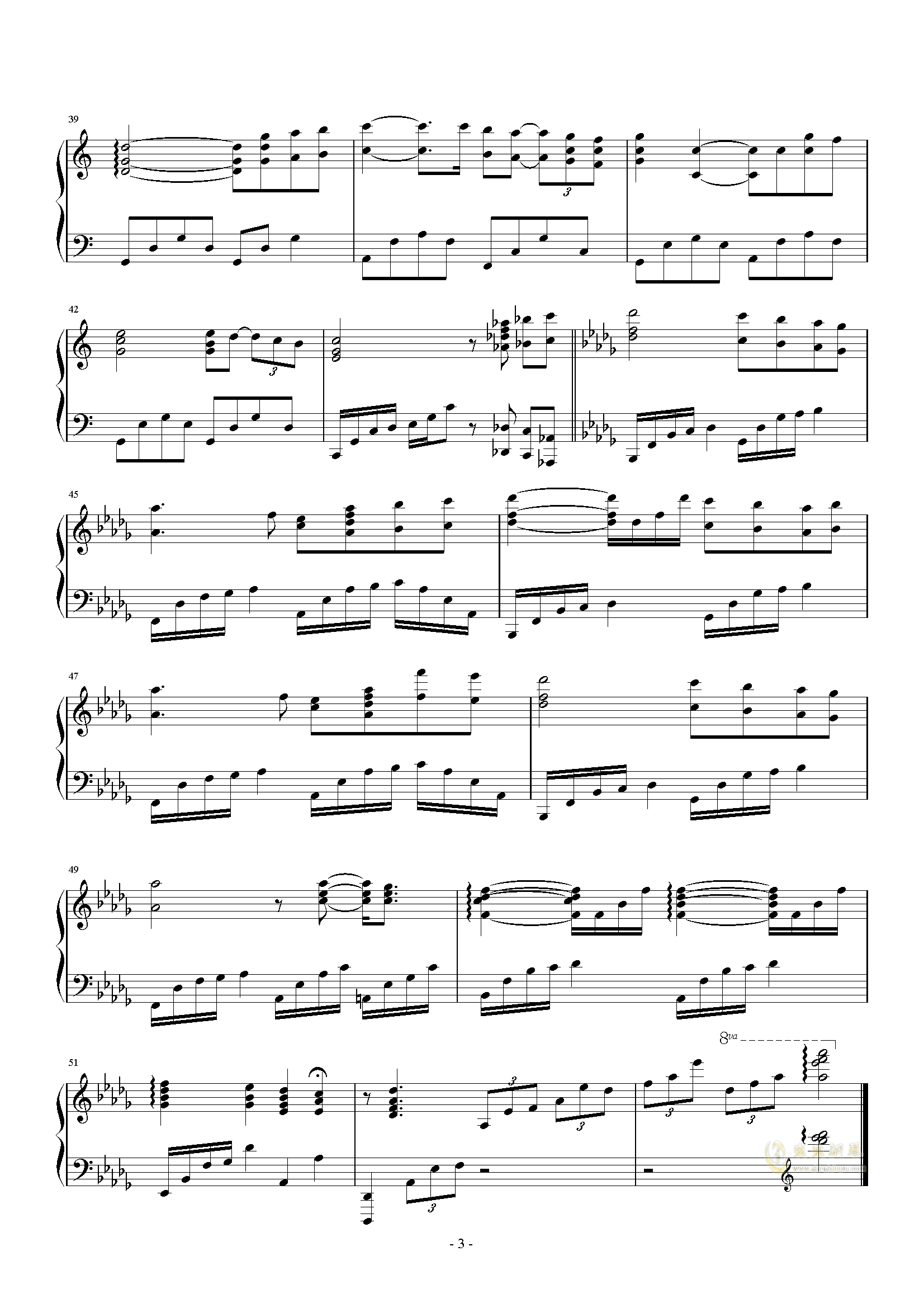 You Raise Me Up钢琴谱 第3页