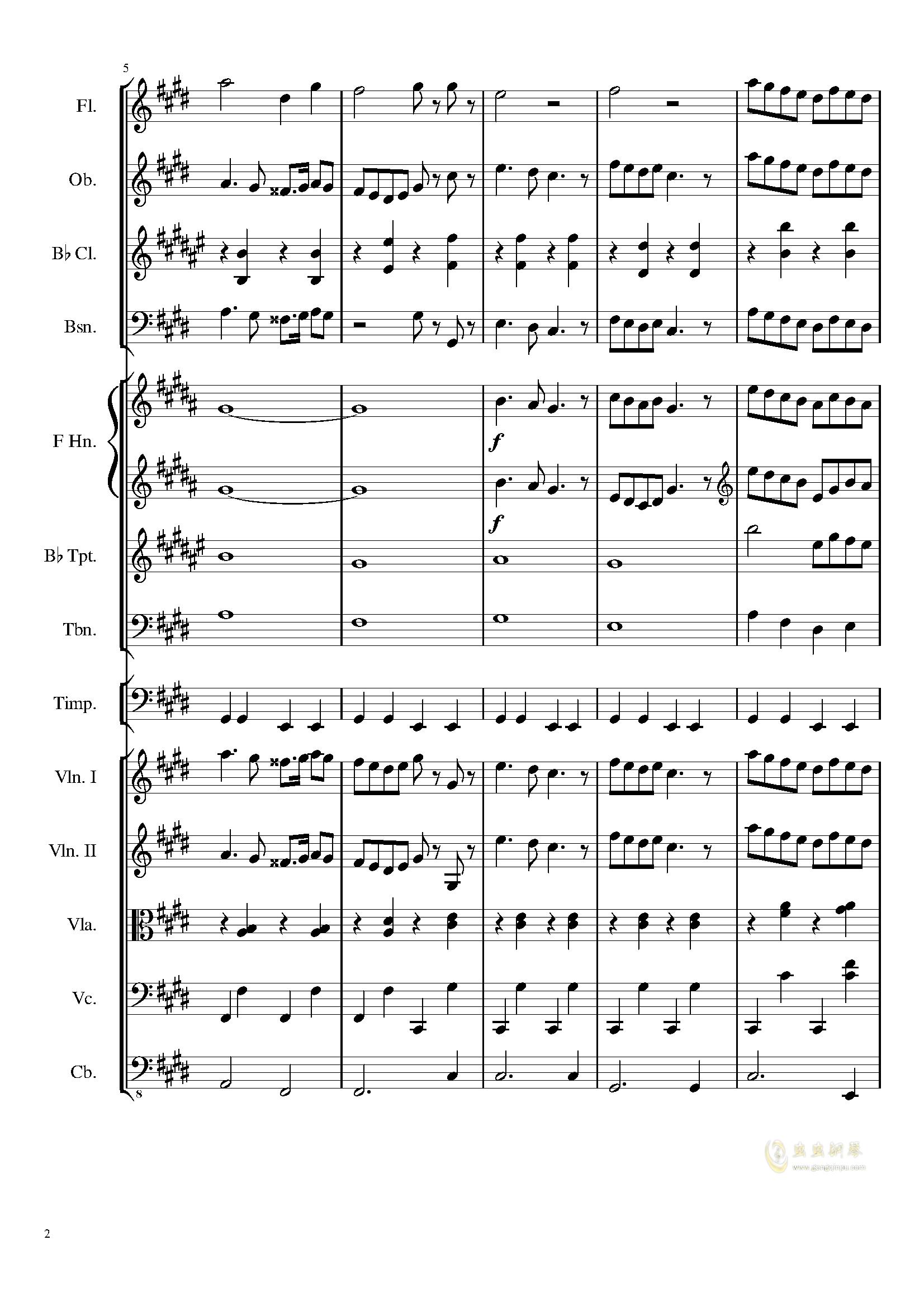 升c小调进行曲钢琴谱 第2页