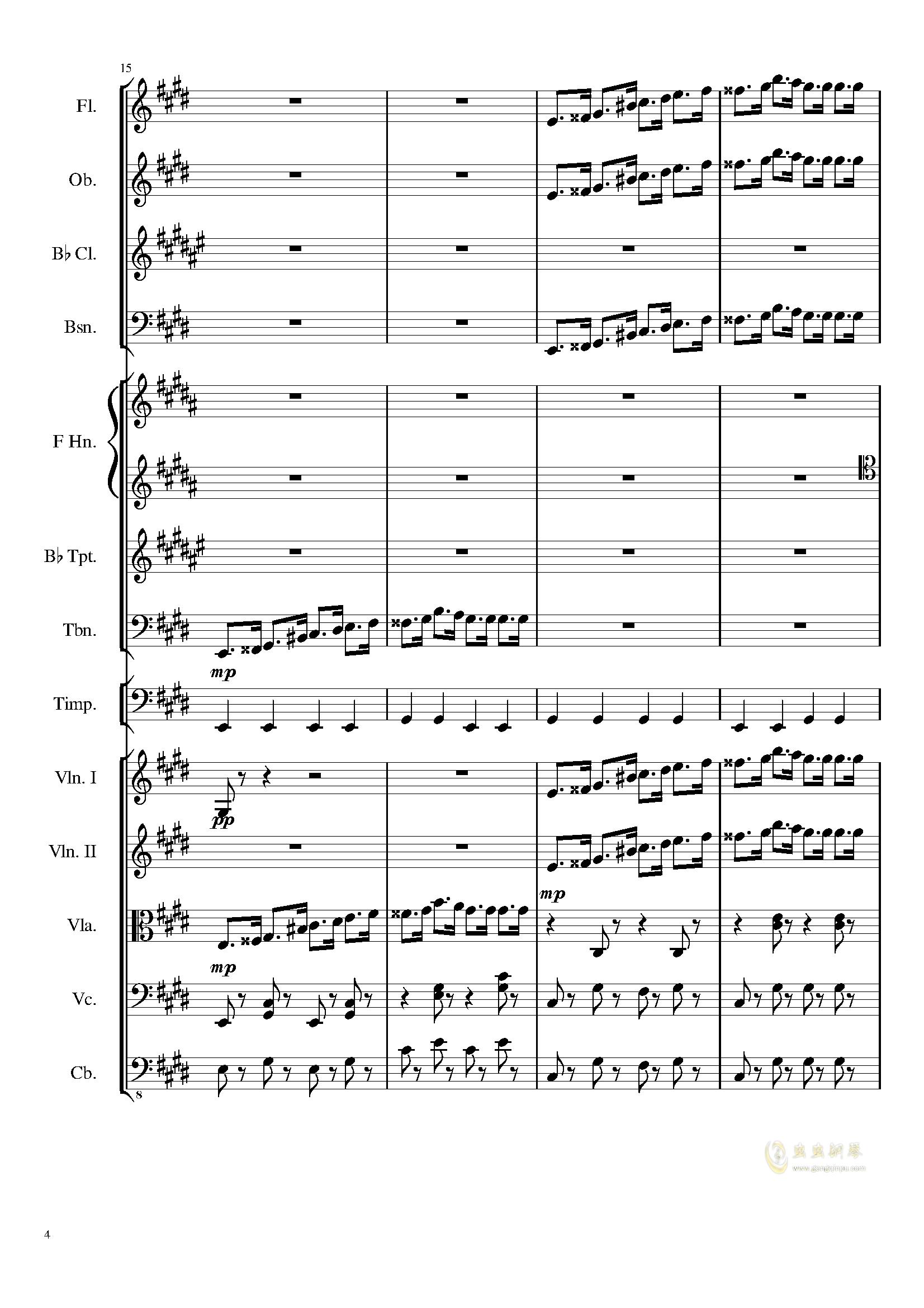 升c小调进行曲钢琴谱 第4页