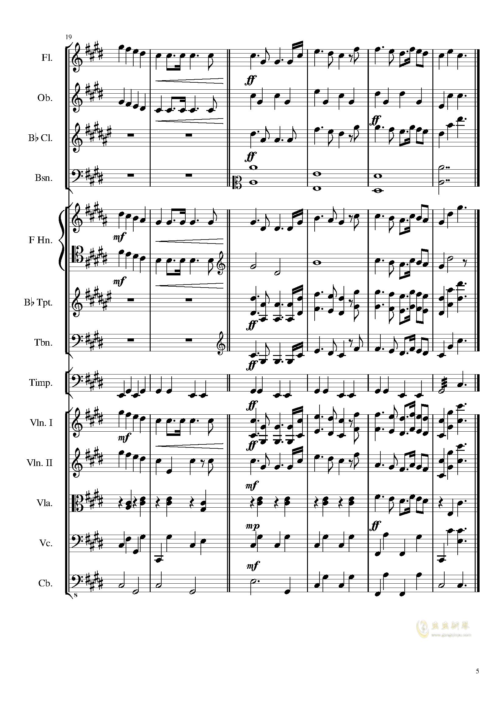 升c小调进行曲钢琴谱 第5页