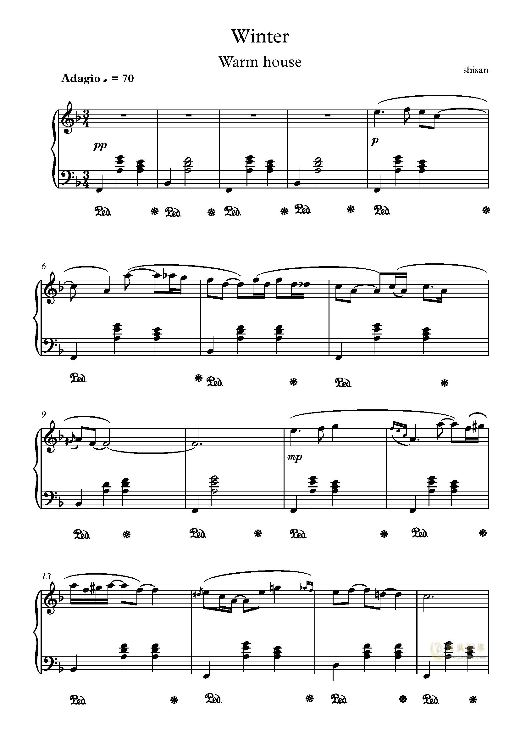 冬暖钢琴简谱_愿你三冬暖图片