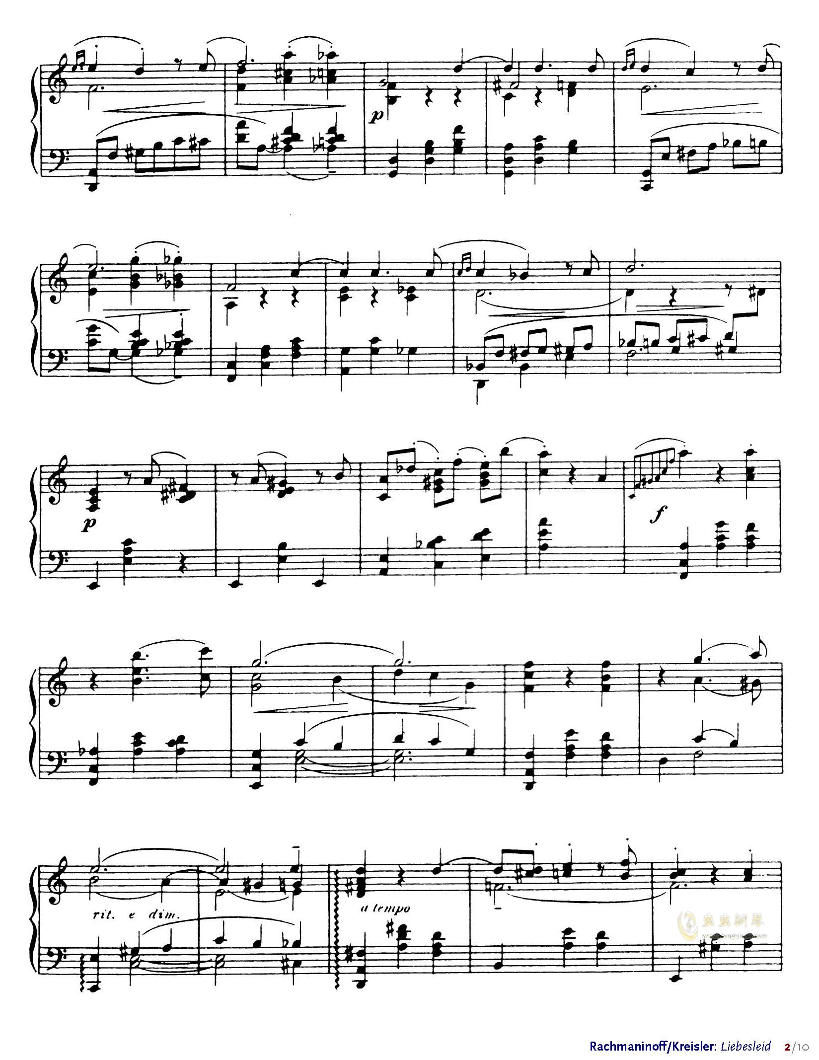 爱的忧伤钢琴谱 第2页
