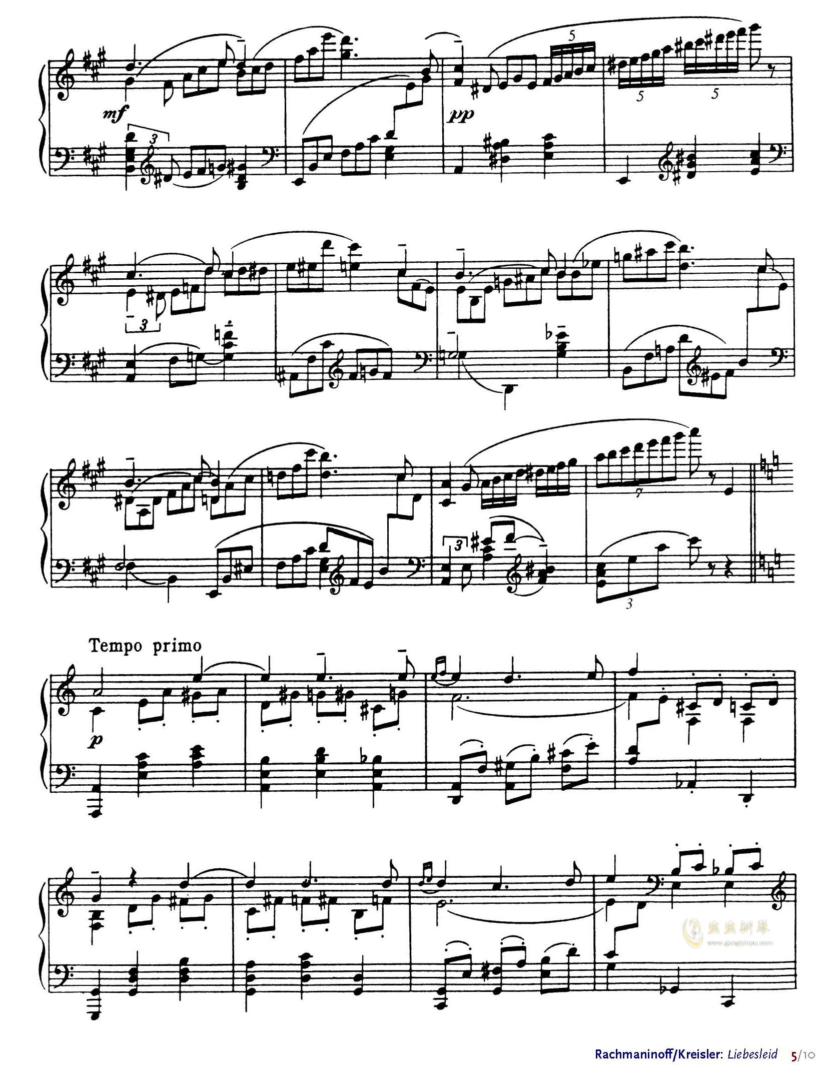 爱的忧伤钢琴谱 第5页