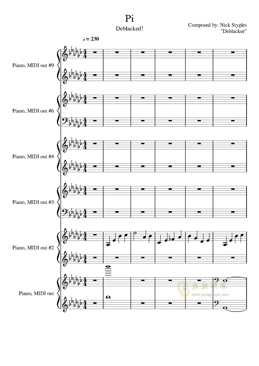 圆周率钢琴谱 第1页
