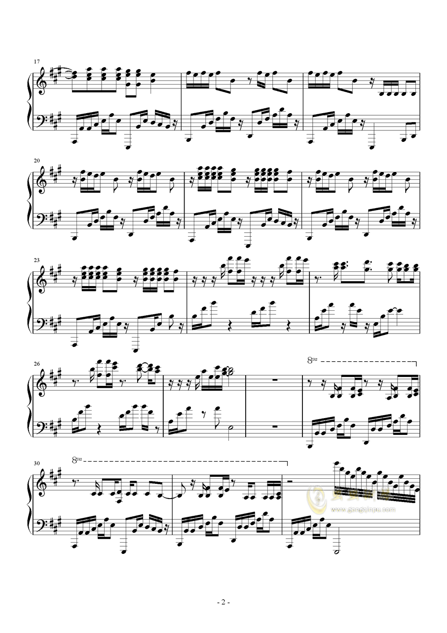 Radioactive钢琴谱 第2页