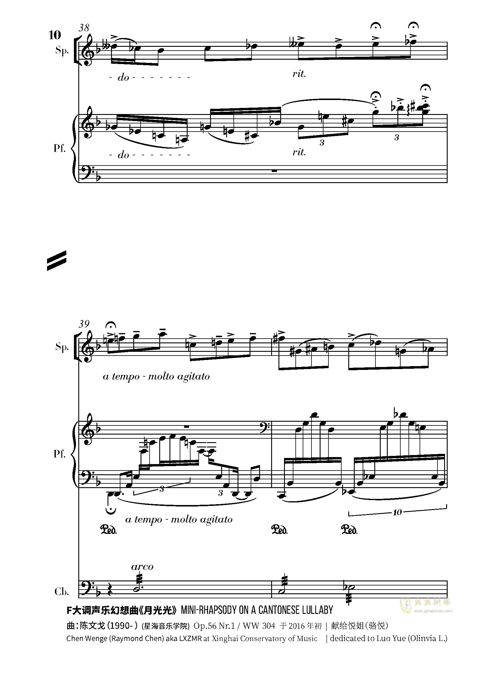 月光光钢琴谱 第10页