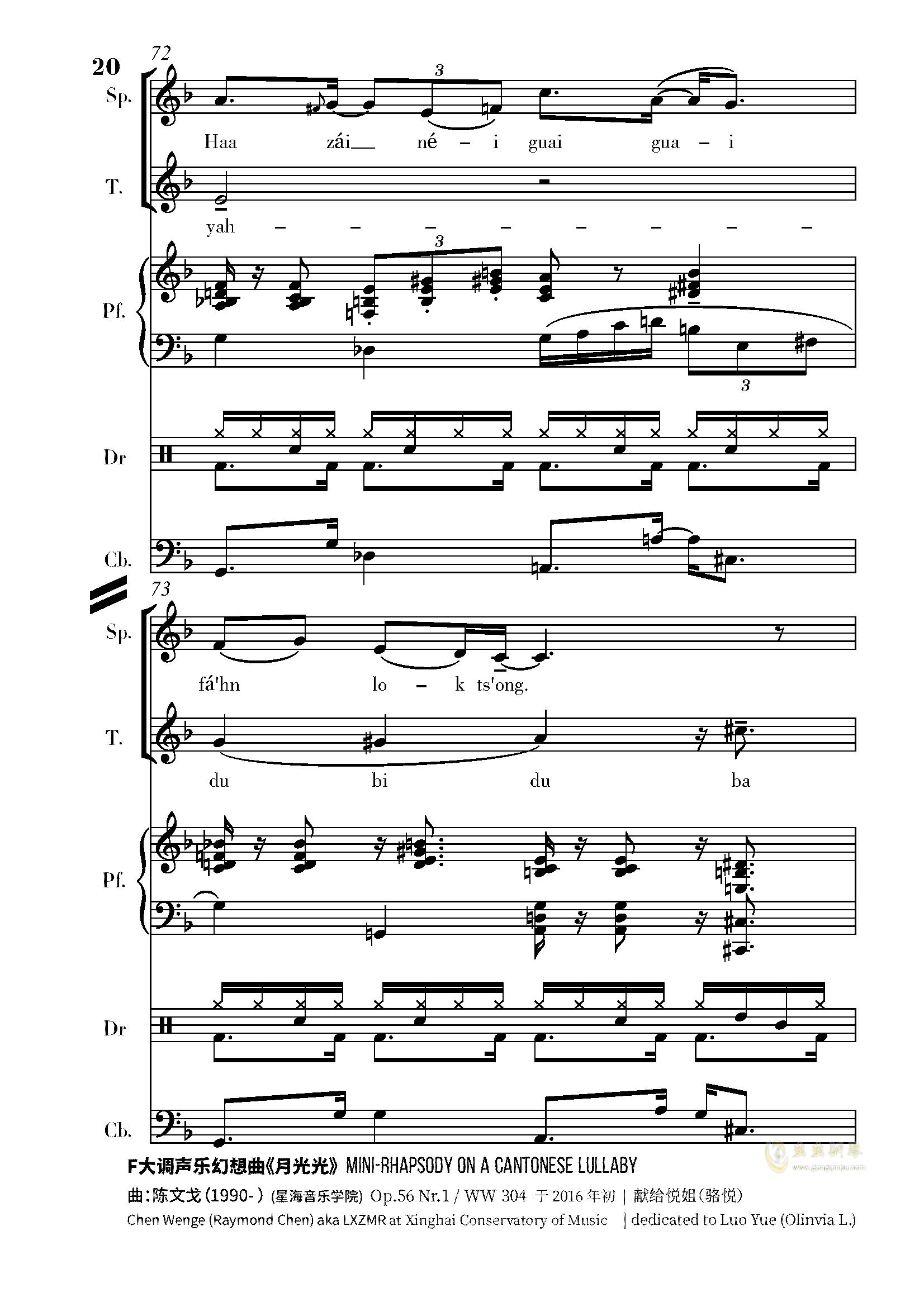 月光光钢琴谱 第20页