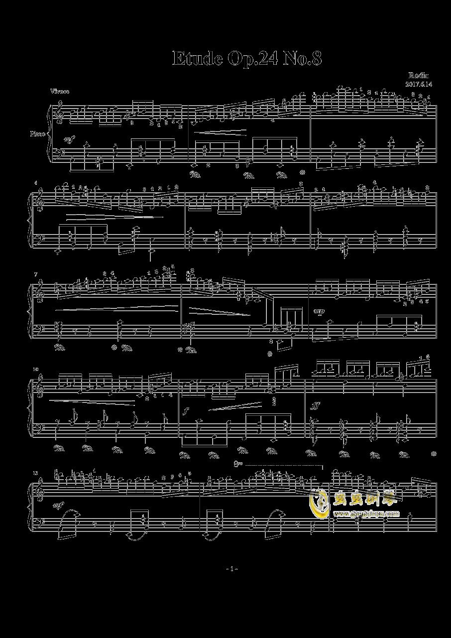 a小调练习曲 Op.24 No.8钢琴谱 第1页