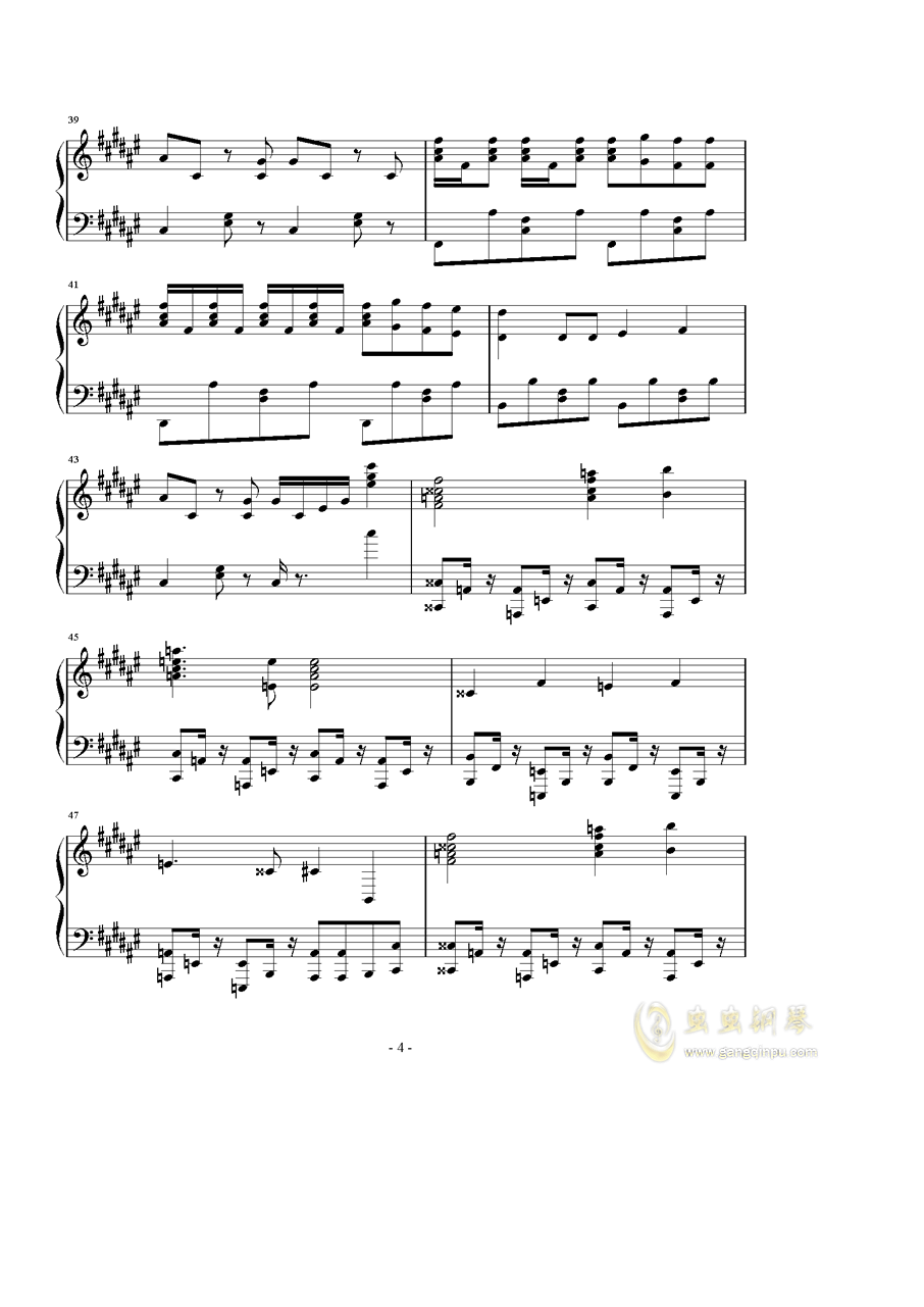 まっしろわ�`るど钢琴谱 第4页