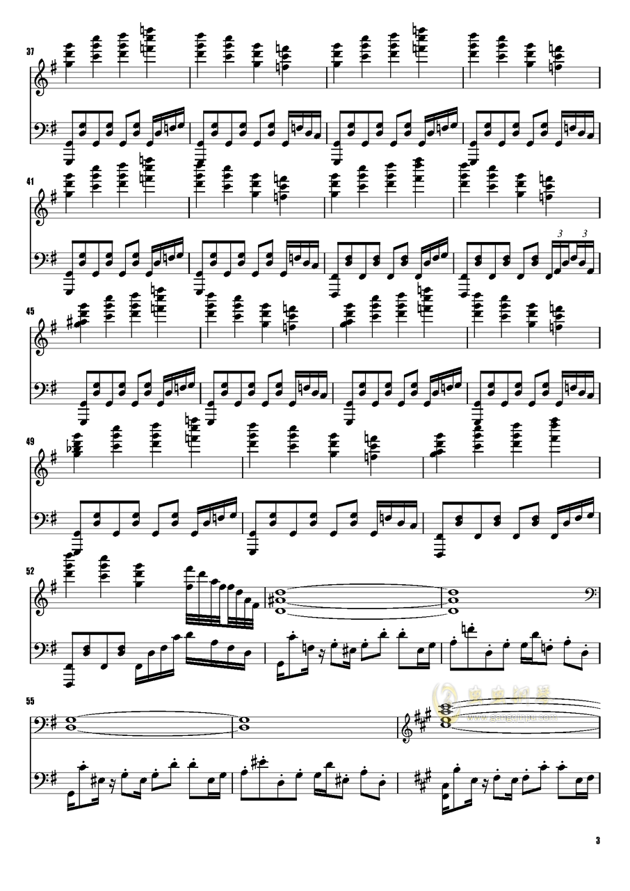 樱花舞散的天空钢琴谱 第3页