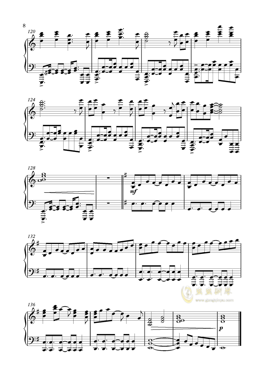 Unicorn Gundam钢琴谱 第8页