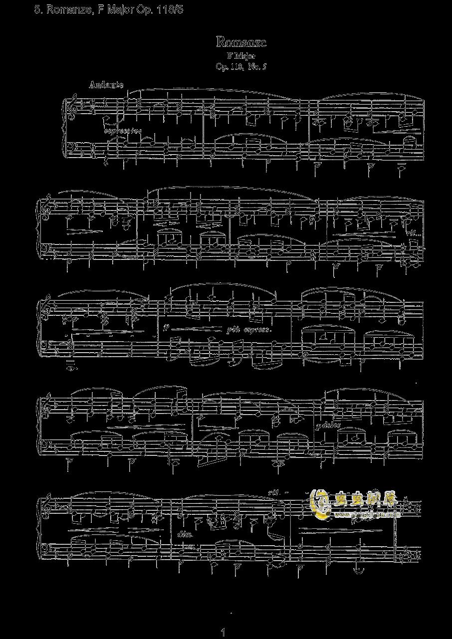 浪漫曲钢琴谱 第1页