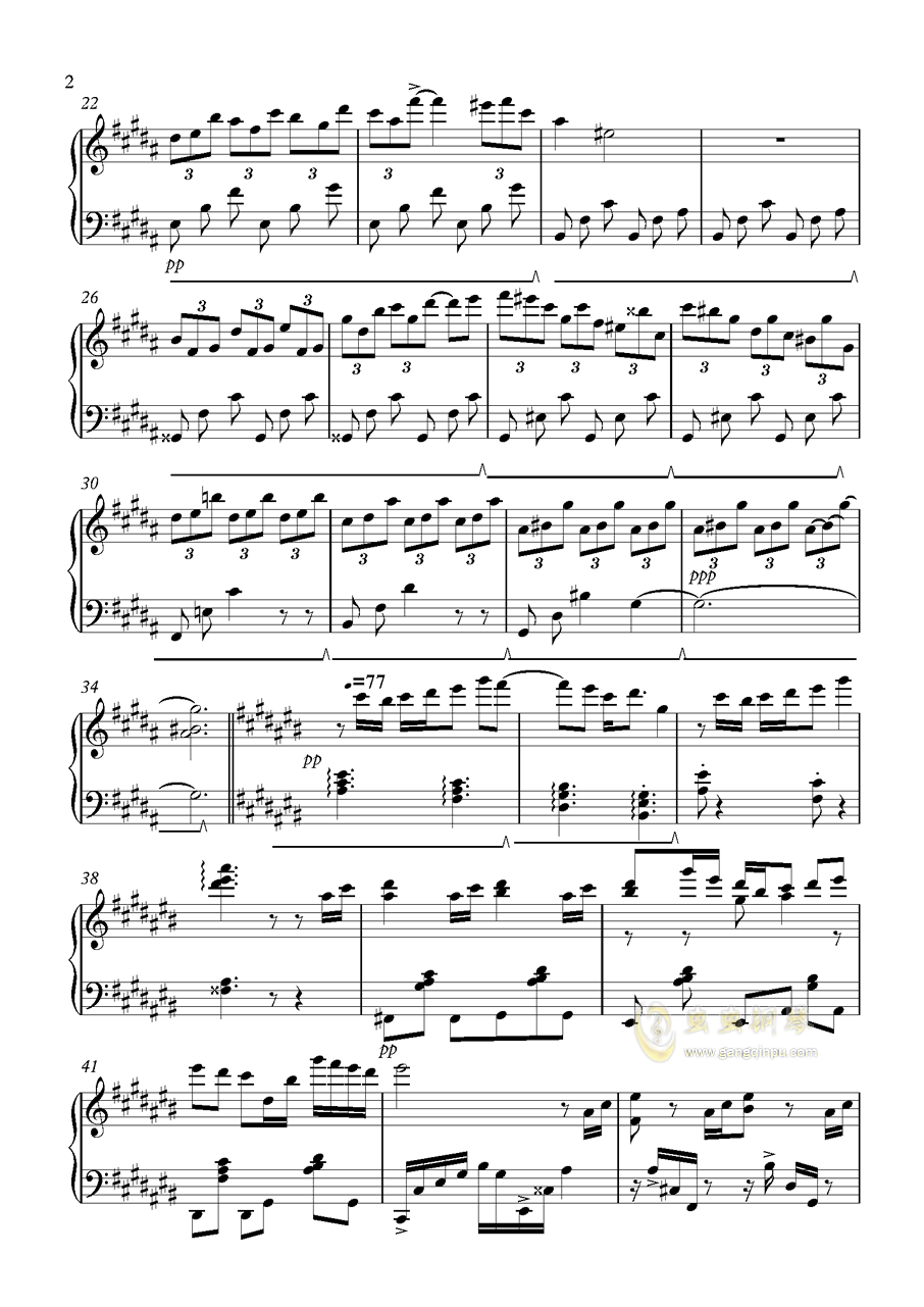 雪花钢琴谱 第2页
