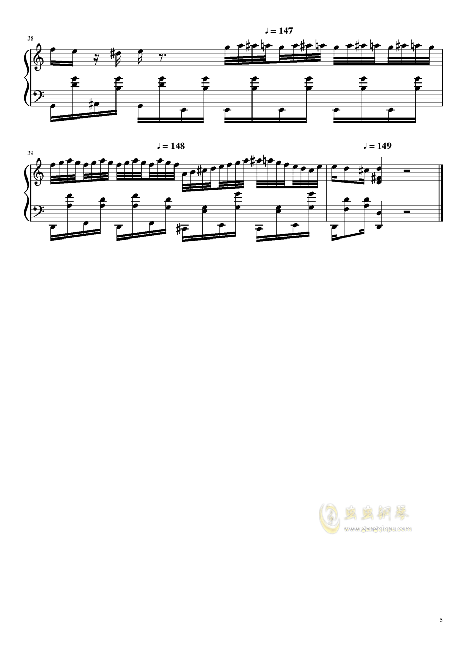 大师赛钢琴谱 第5页