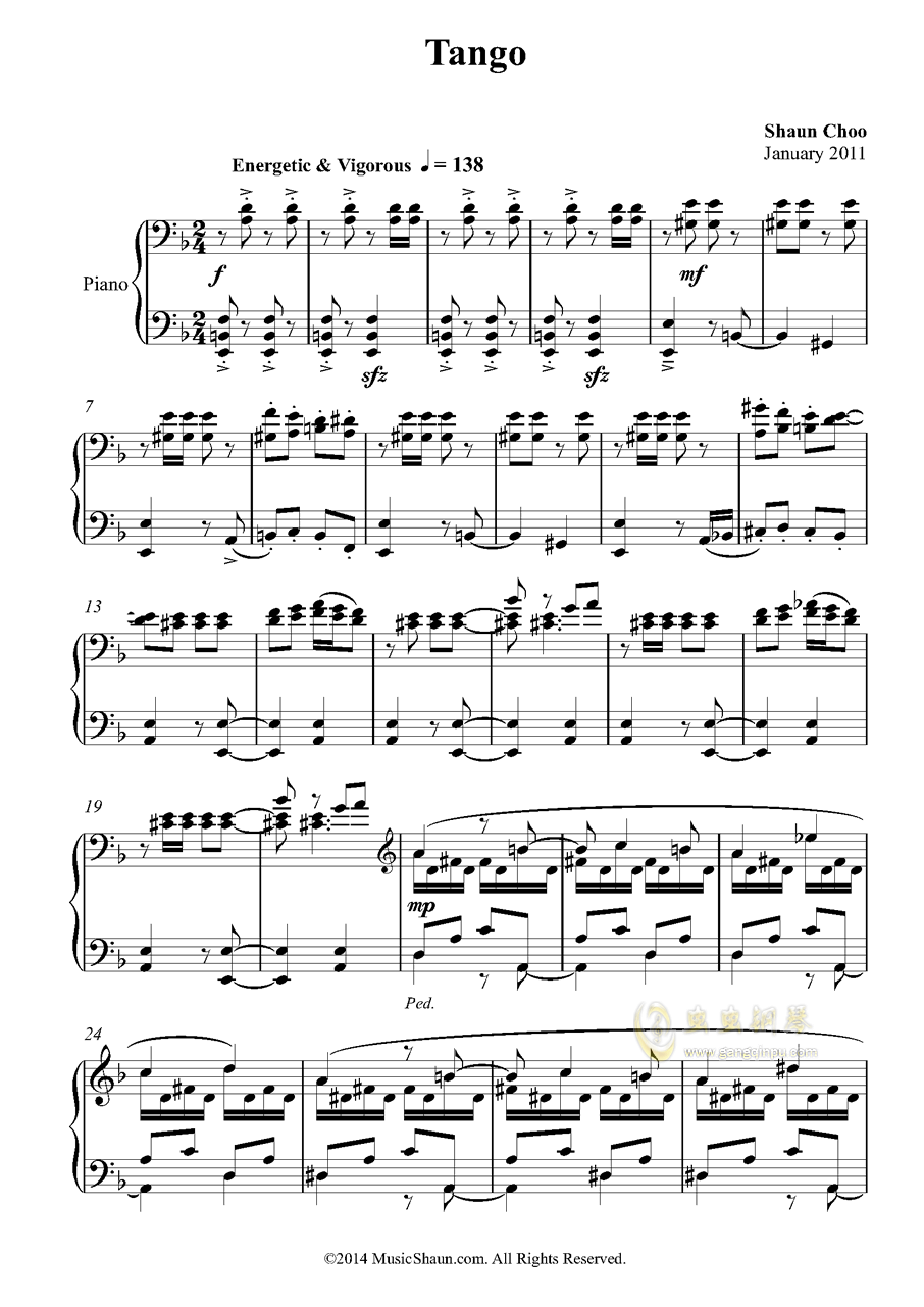 肖恩的探戈钢琴谱 第1页