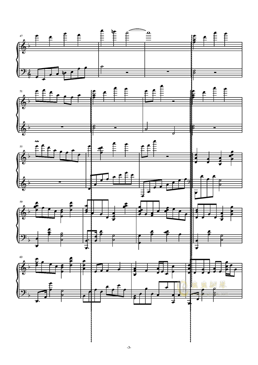 �O北の民钢琴谱 第3页