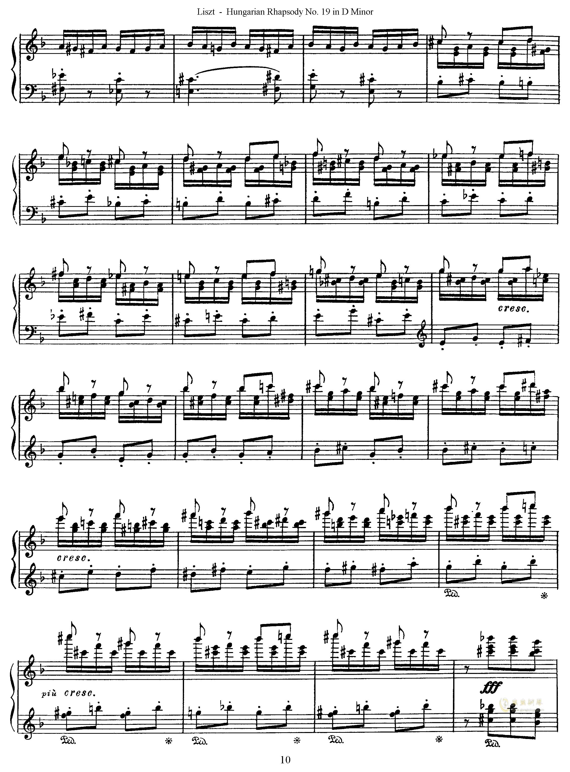 匈牙利狂想曲第19号钢琴谱 第10页
