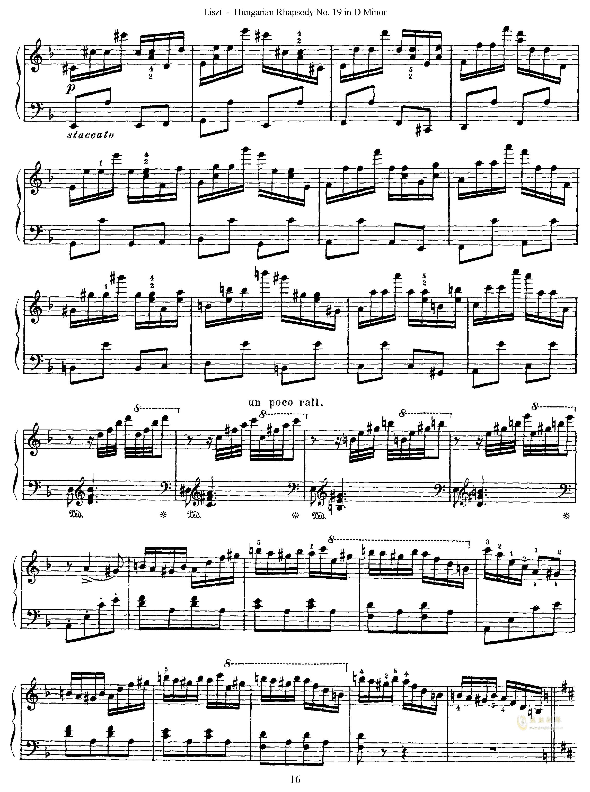 匈牙利狂想曲第19号钢琴谱 第16页