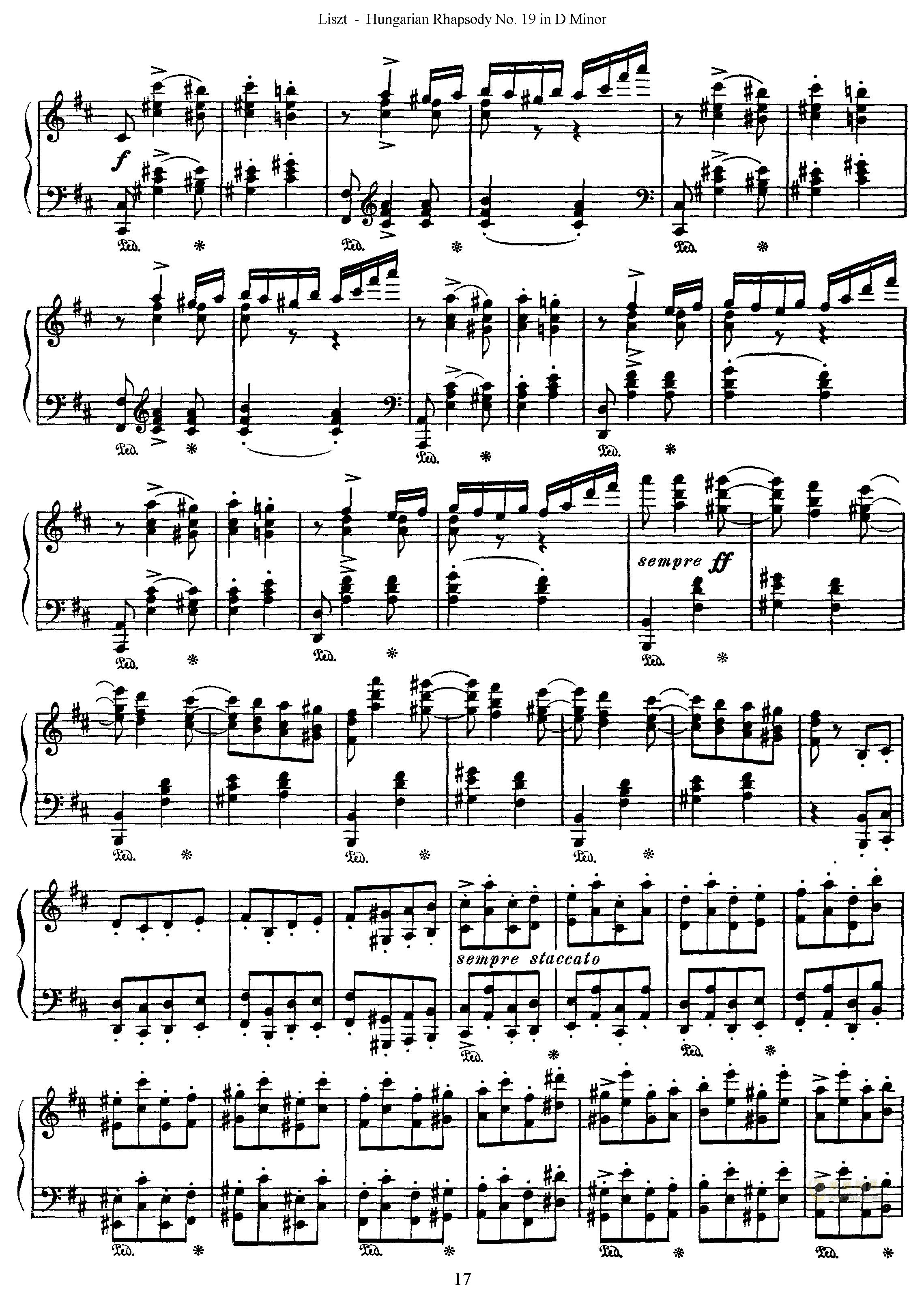 匈牙利狂想曲第19号钢琴谱 第17页