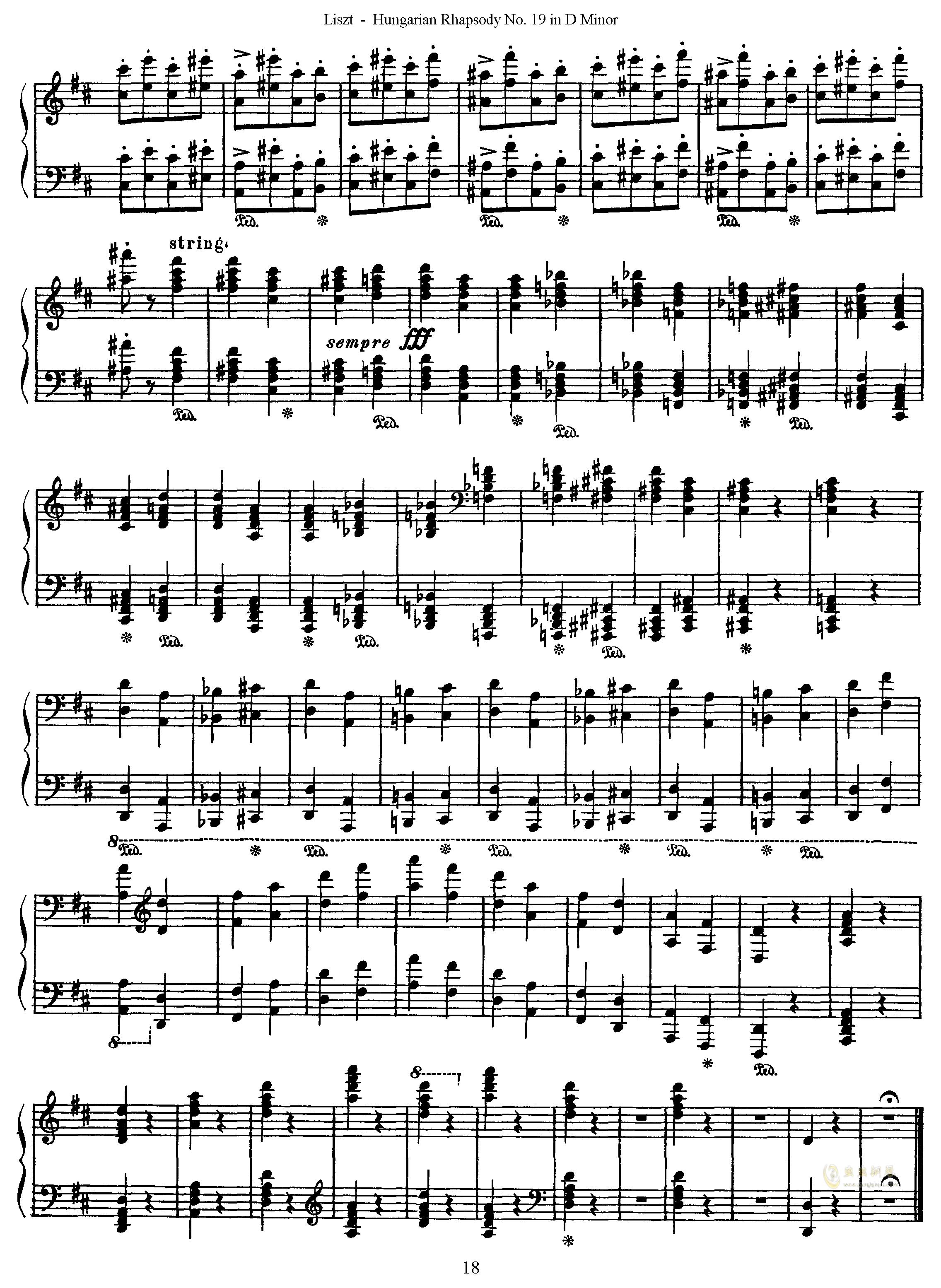 匈牙利狂想曲第19号钢琴谱 第18页
