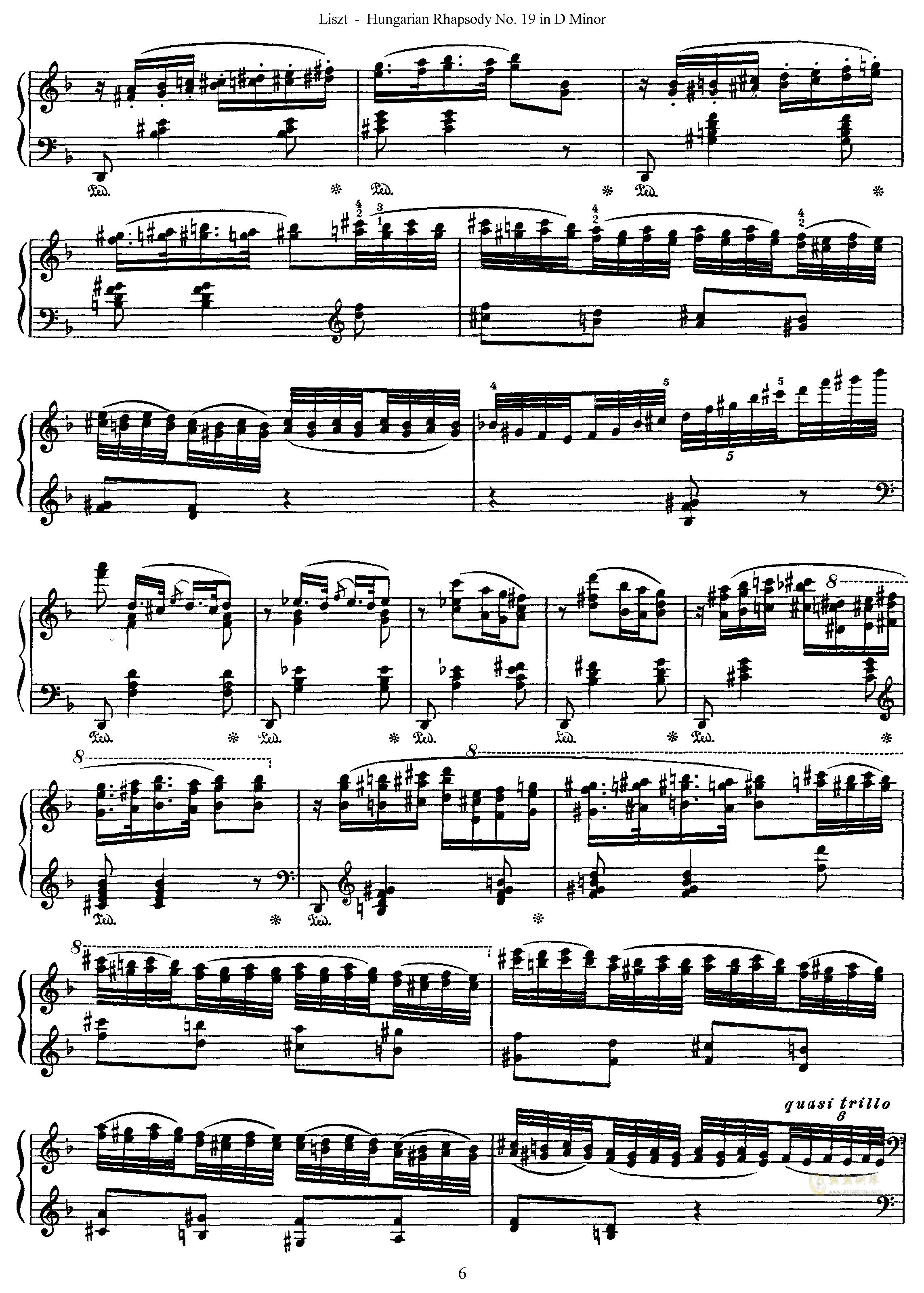 匈牙利狂想曲第19号钢琴谱 第6页