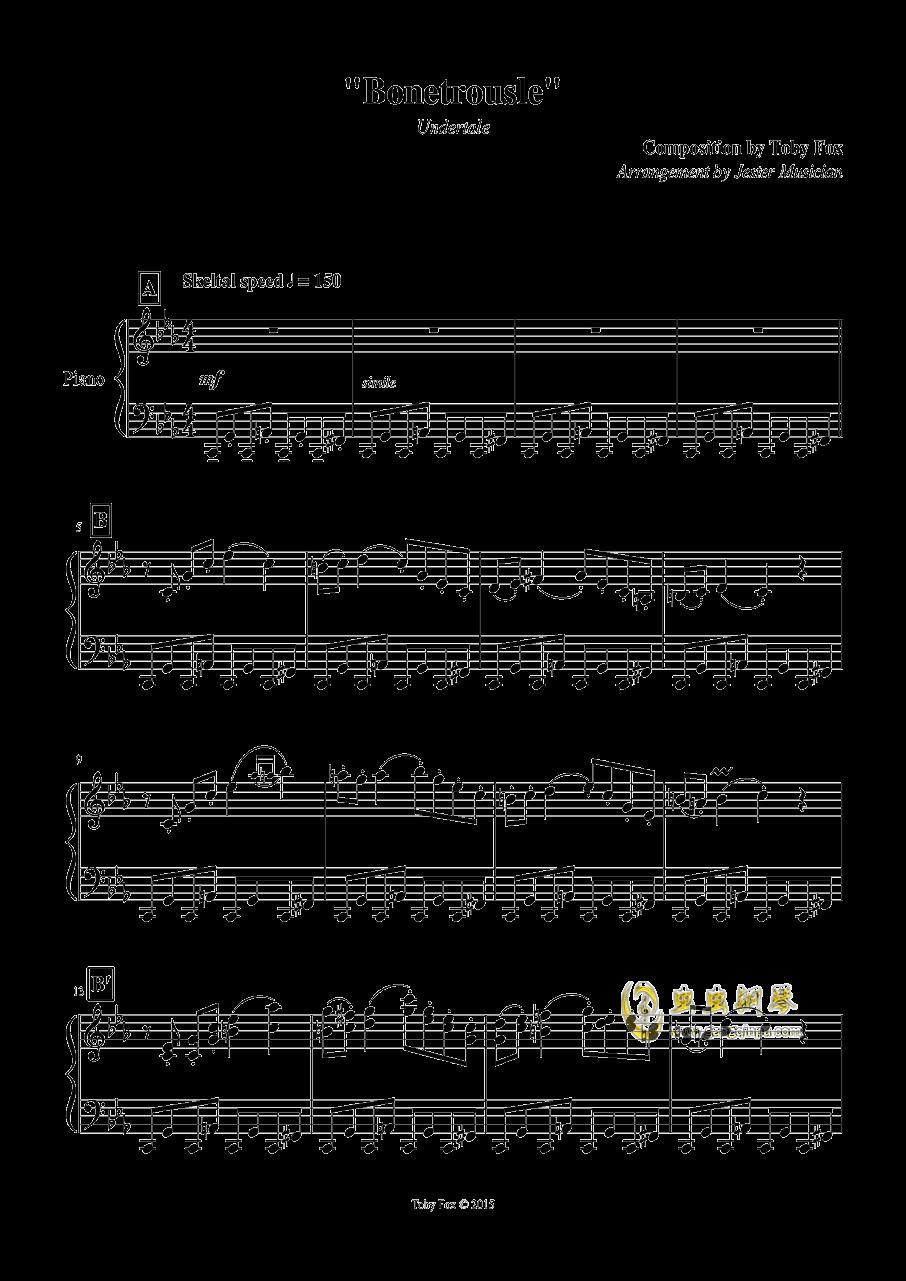 Bonetrousle钢琴谱 第1页