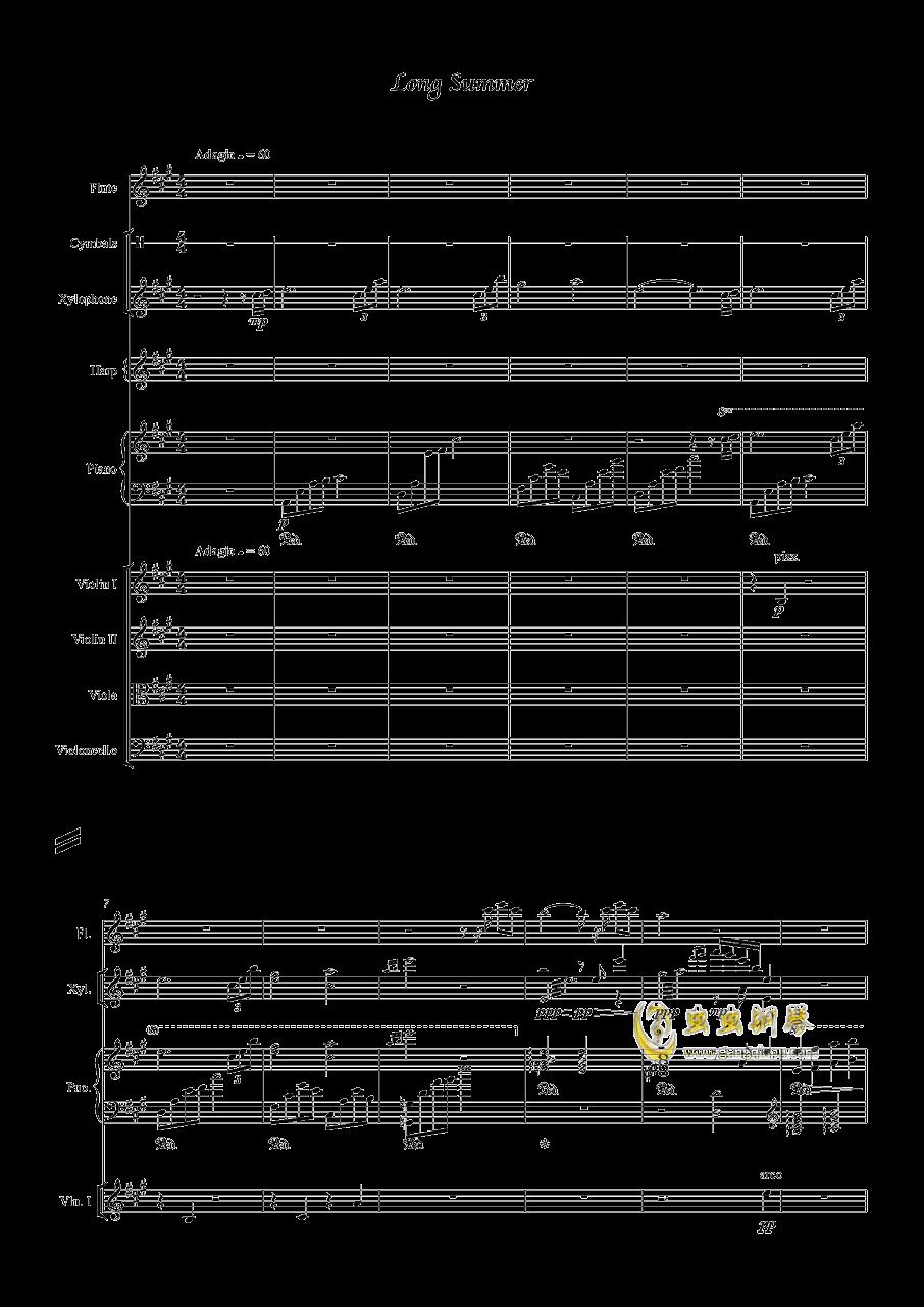 Long Summer钢琴谱 第1页