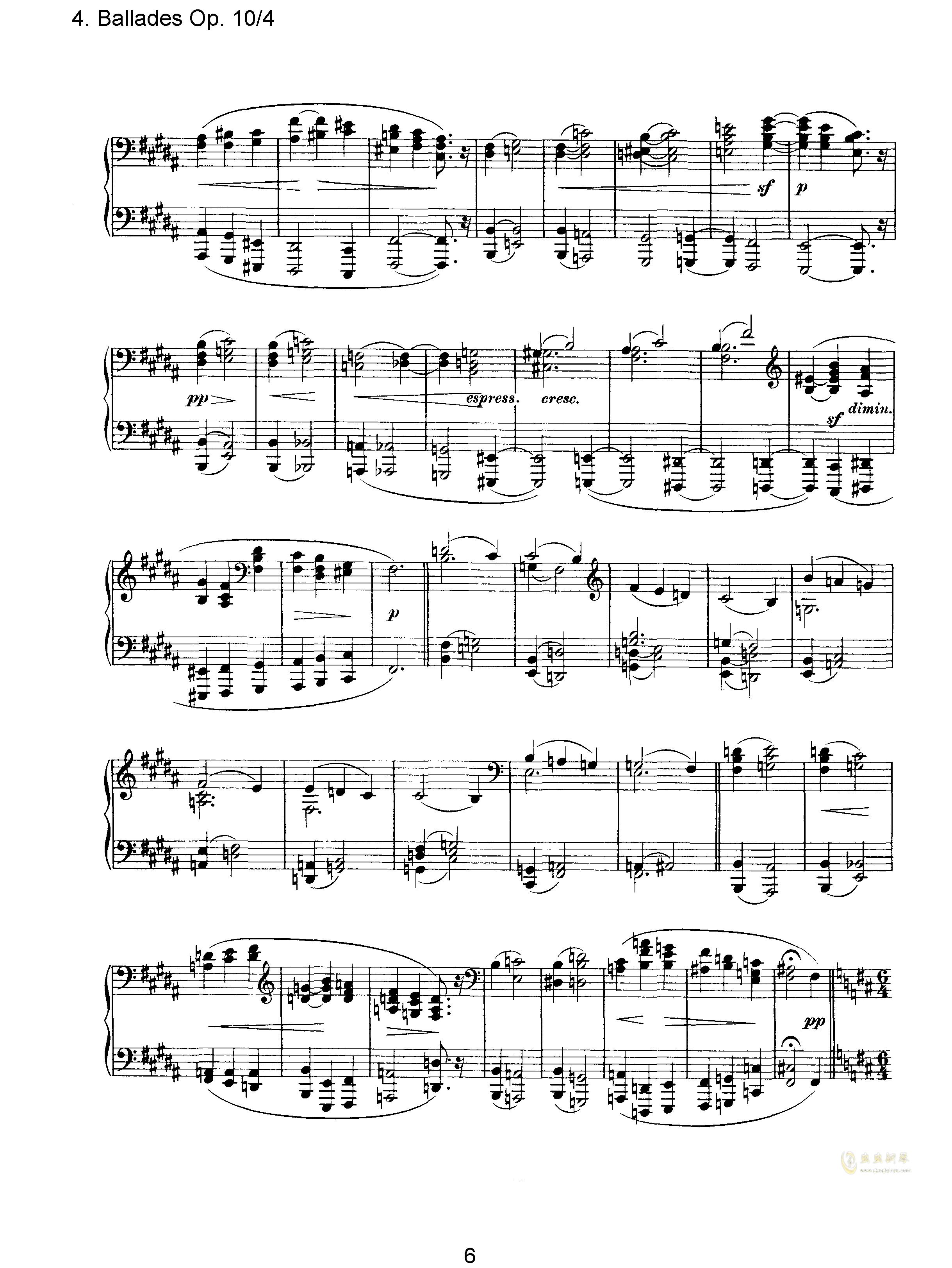 叙事曲钢琴谱 第6页