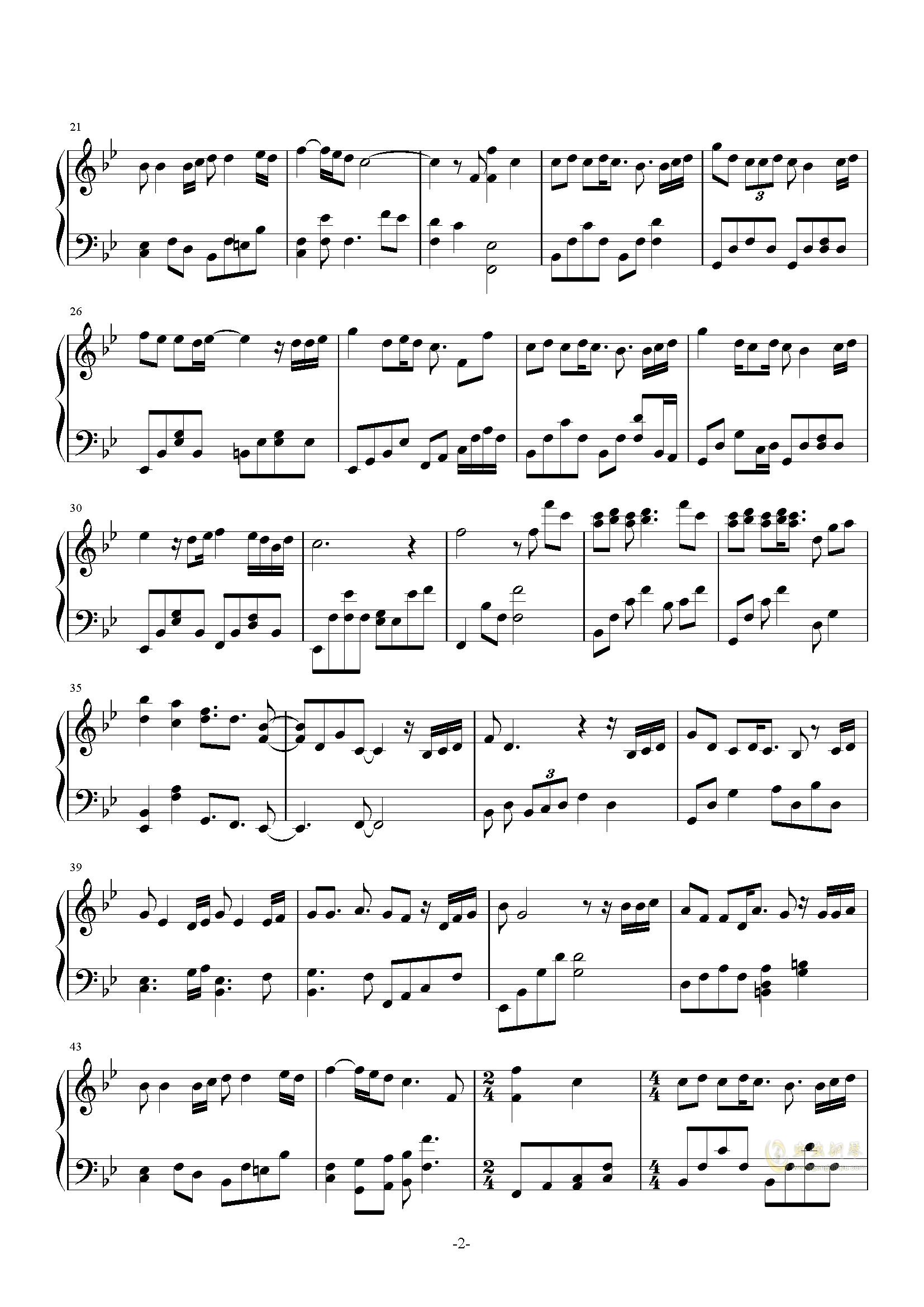 最后的风度钢琴谱 第2页