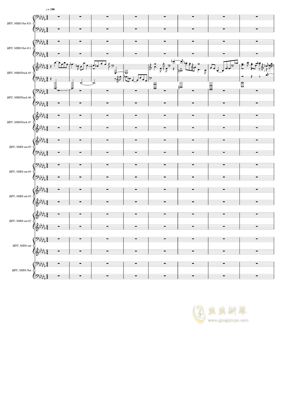 9k钢琴谱 第1页