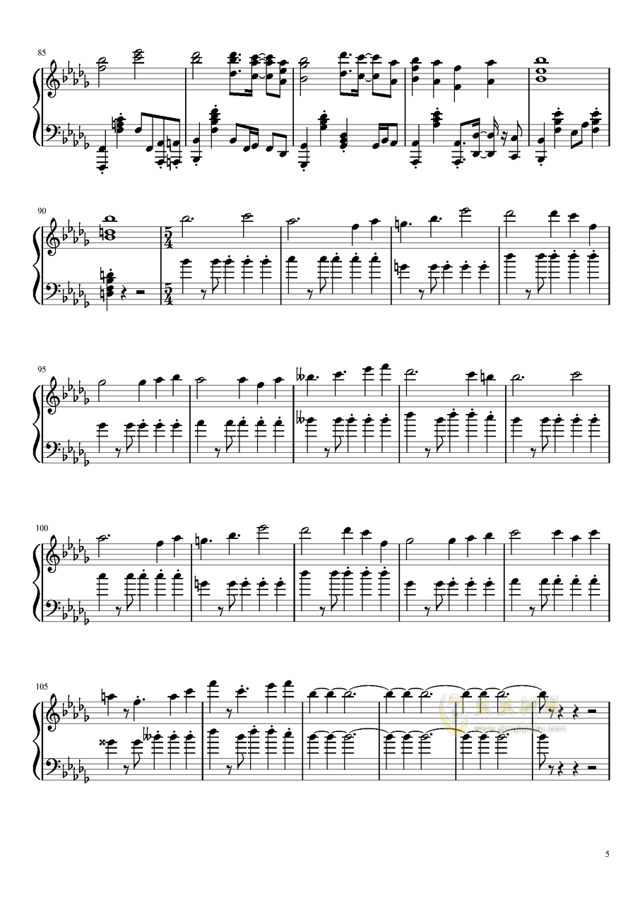 幻想的白色旅人钢琴谱 第5页