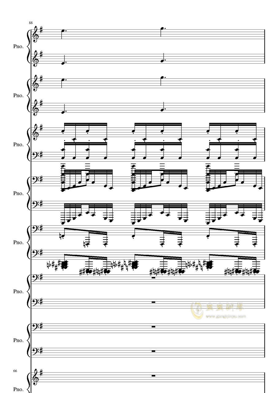 八月钢琴谱 第66页