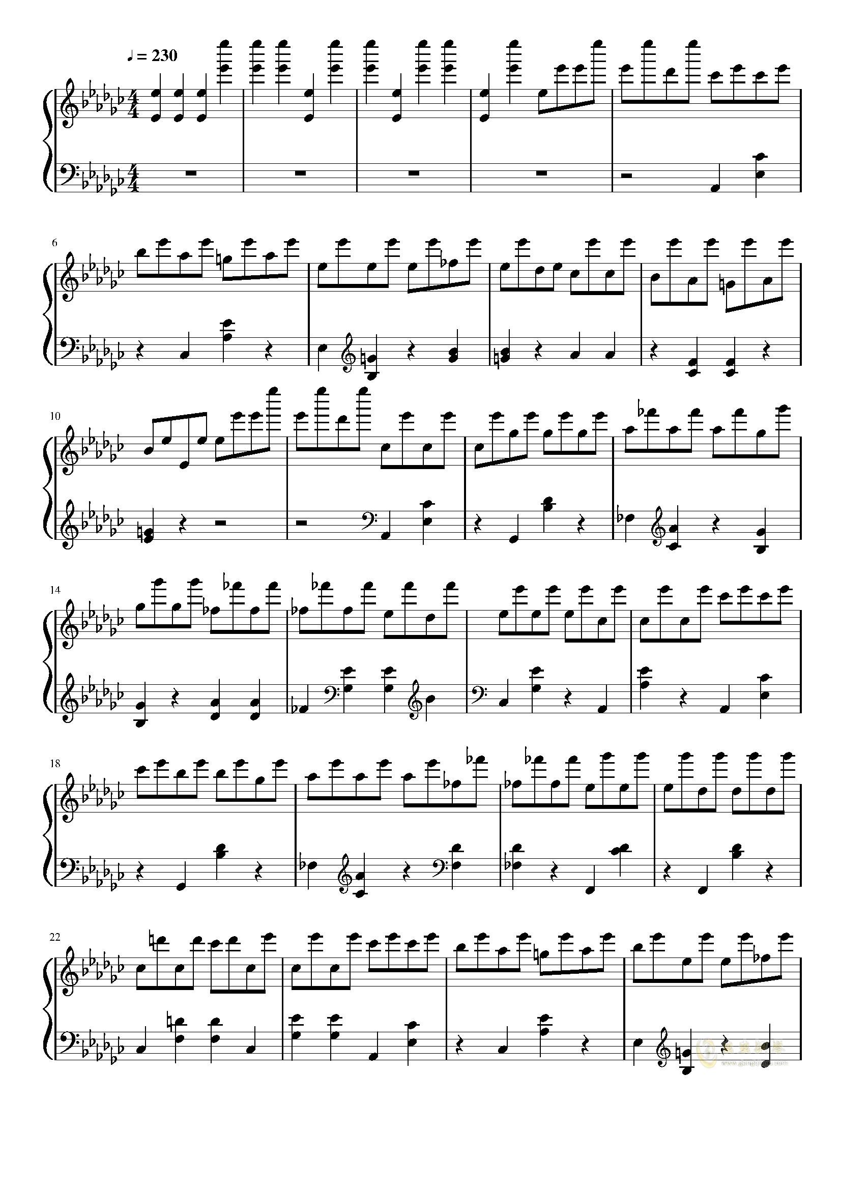 星星钟钢琴谱 第1页
