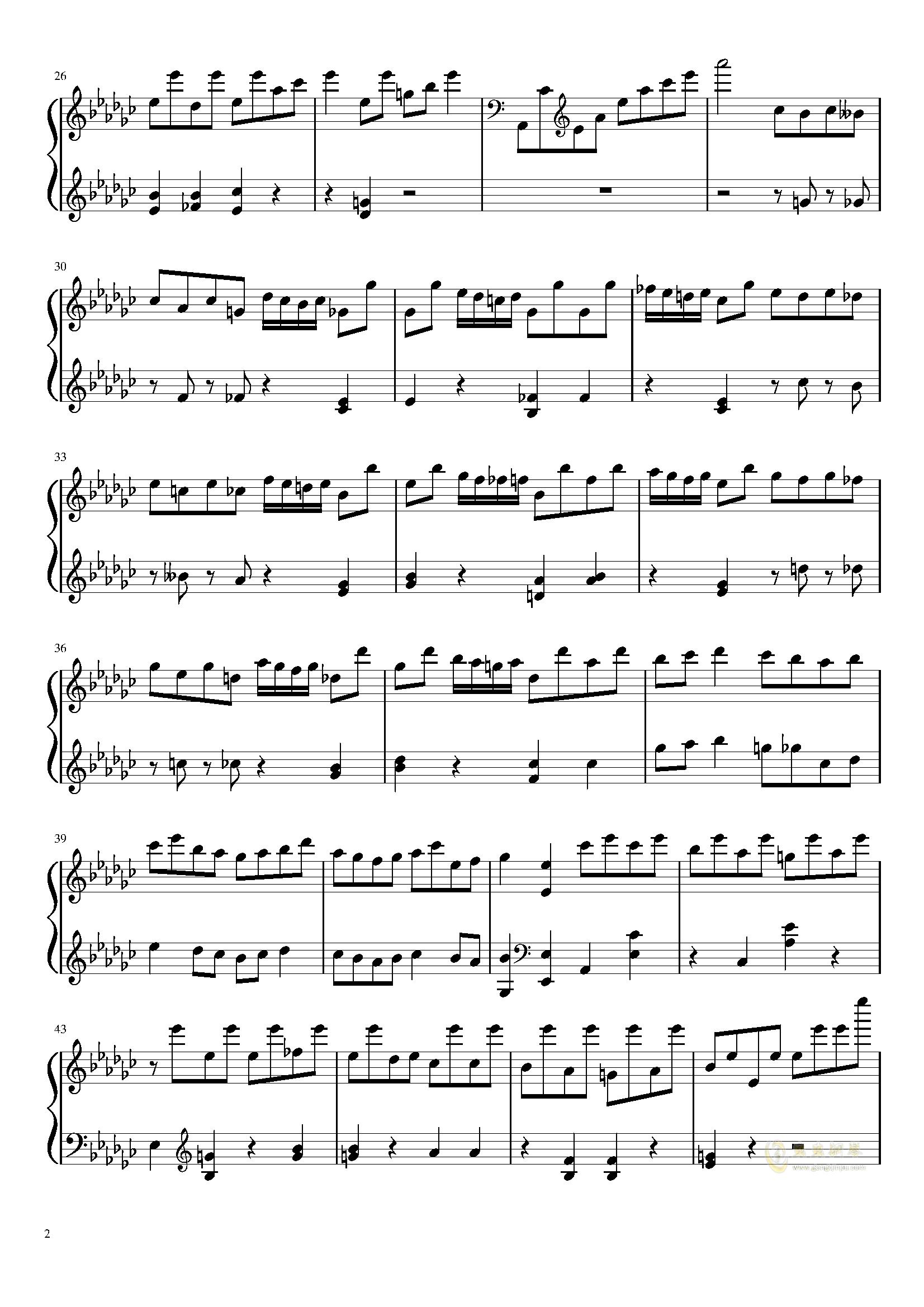 星星钟钢琴谱 第2页