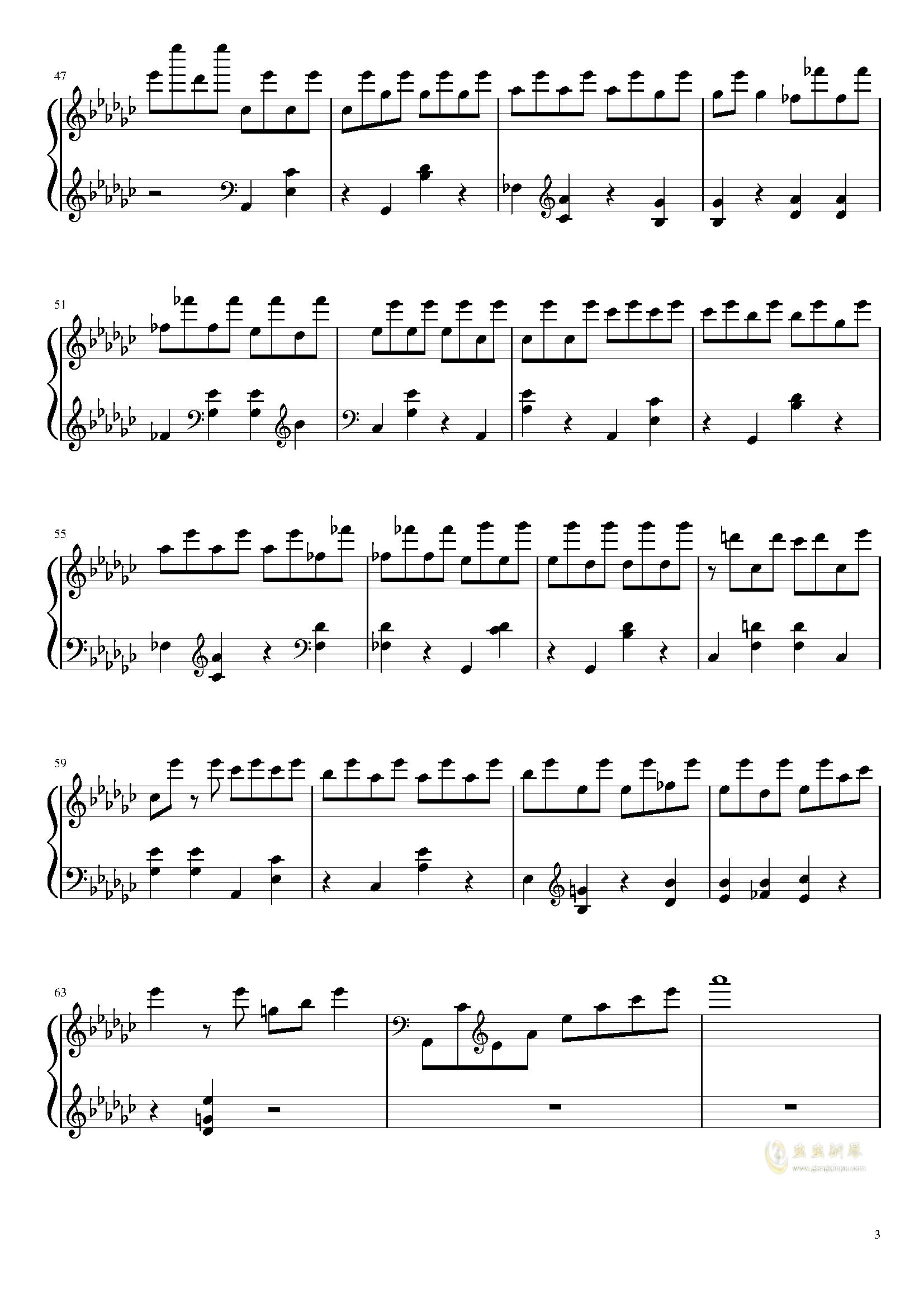 星星钟钢琴谱 第3页