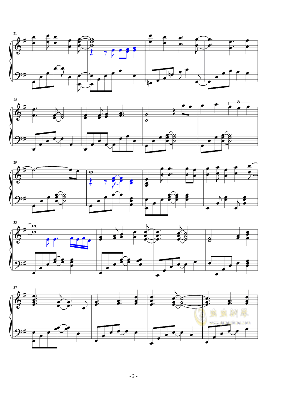 日落�r分钢琴谱 第2页