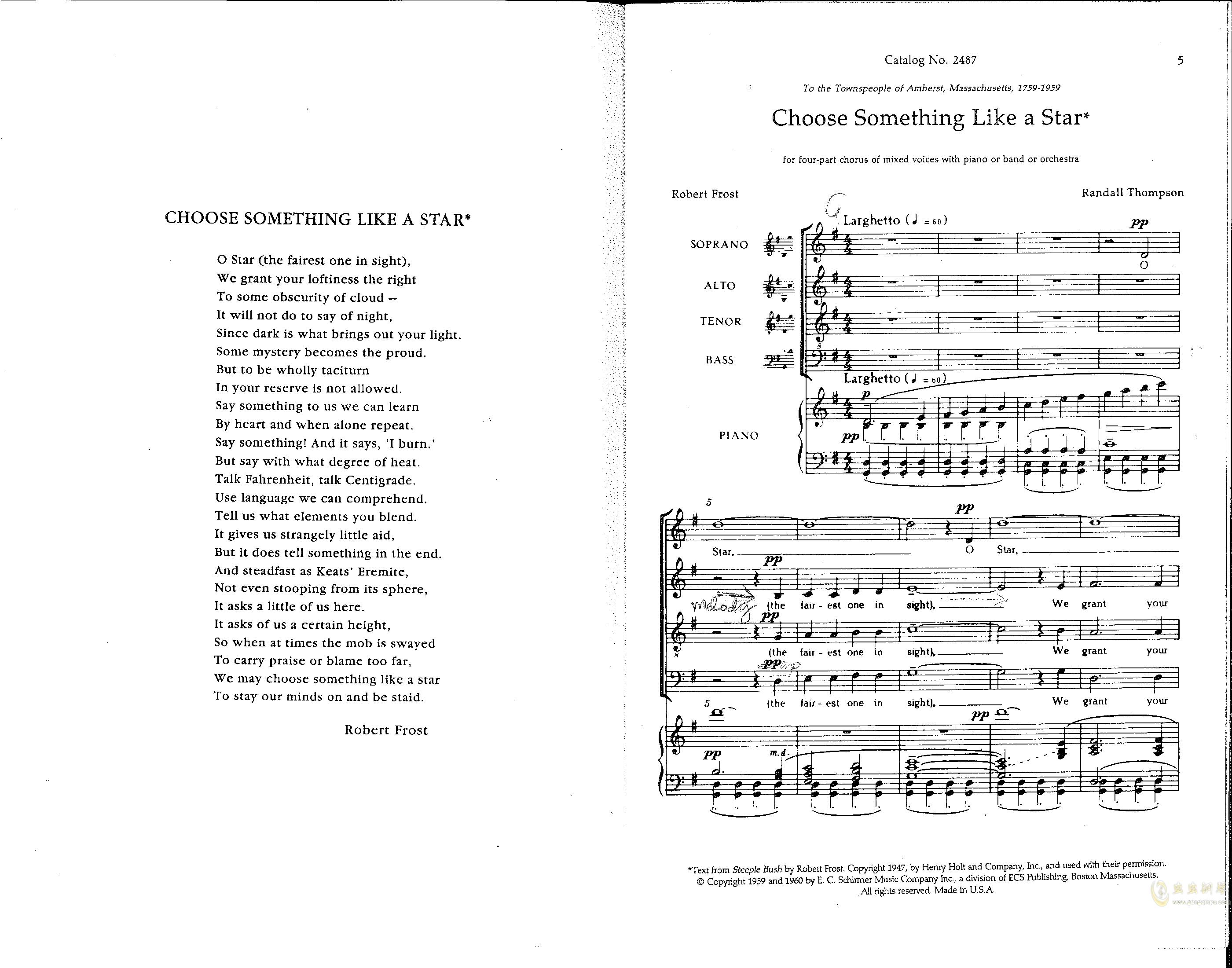 Choose something like a star钢琴谱 第1页
