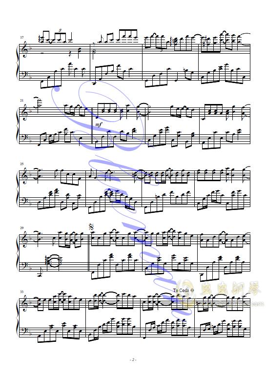 小幸运钢琴谱 第2页