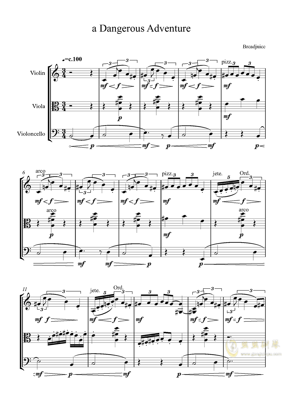 弦乐三重奏 X 不可描述的剧情钢琴谱 第1页