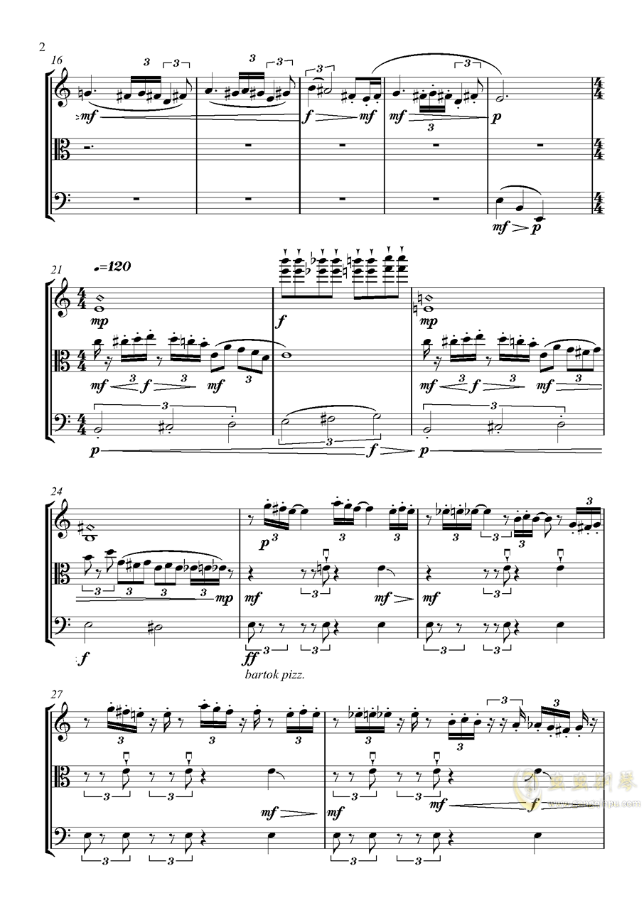 弦乐三重奏 X 不可描述的剧情钢琴谱 第2页